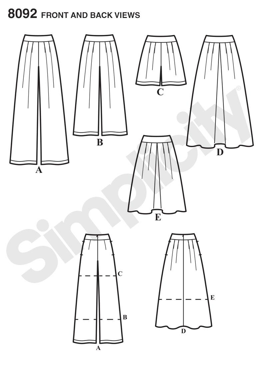 Simplicity 8092 Misses\' Skirts, Pants, Culottes and Shorts