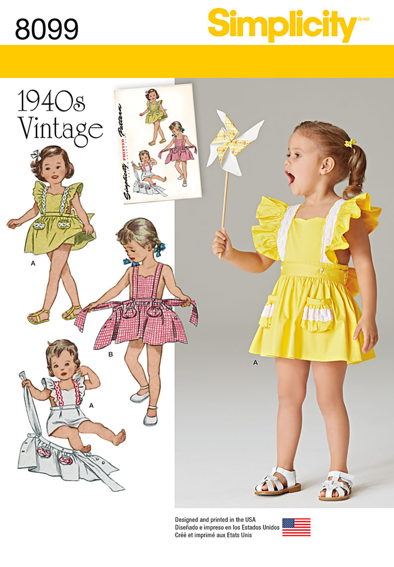 Simplicity 8099 Toddlers' Romper and Button-on skirt