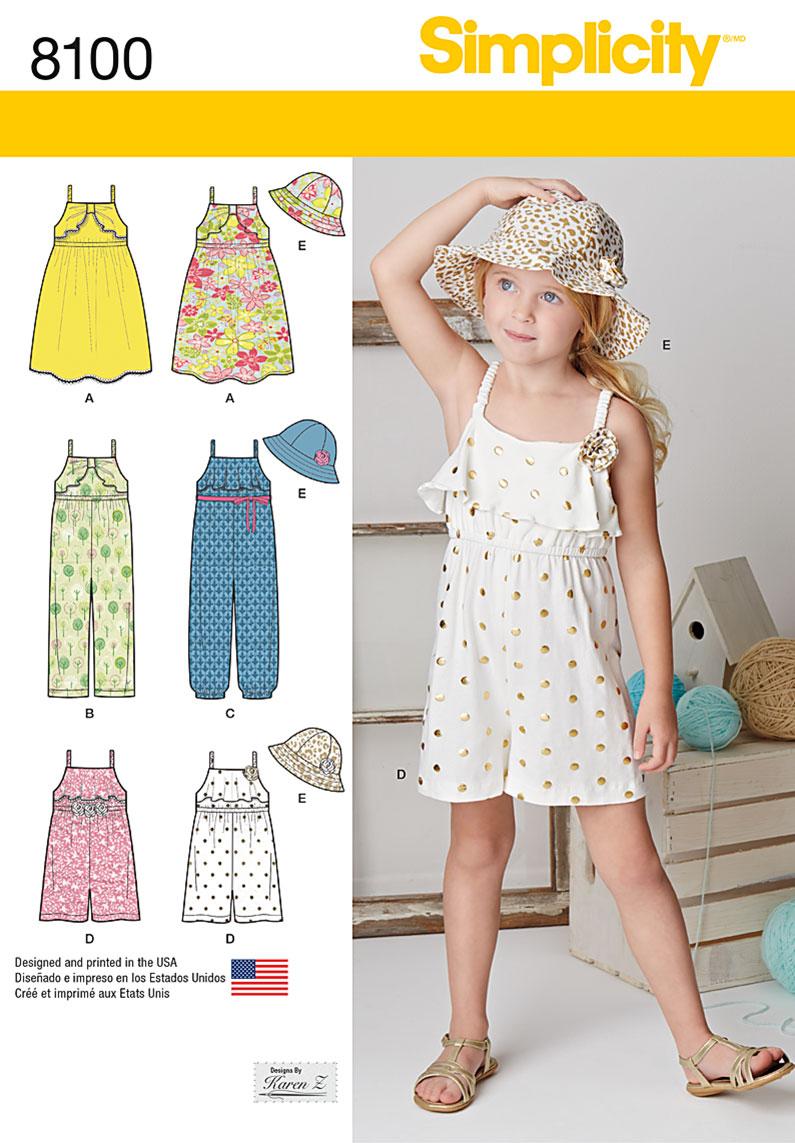 Simplicity 8100 Child S Jumpsuit Romper Dress And Hat