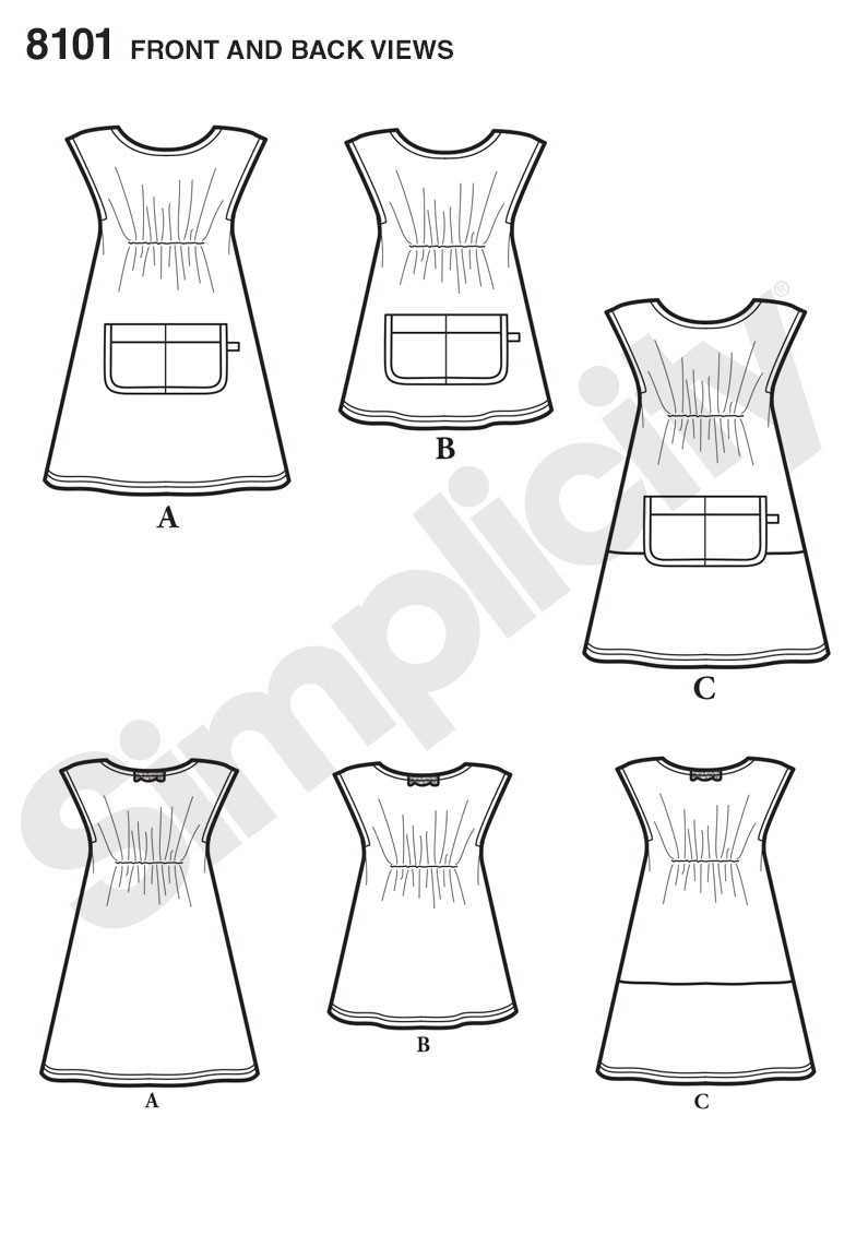 Simplicity Pattern 8101 Childs Dress and Tunic from Dottie Angel SEWING PATTERN Size A 3-4-5-6-7-8