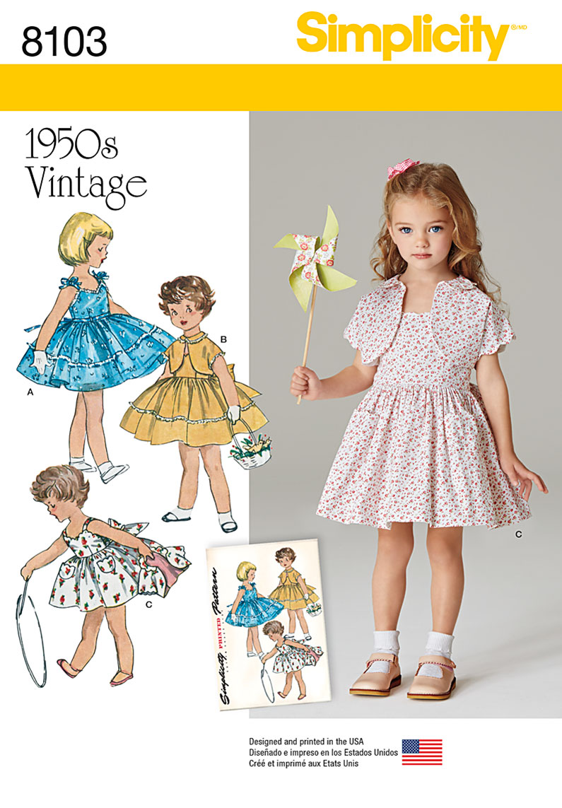 Simplicity 8103 Child\'s Vintage 1950\'s Dress and Lined Jacket