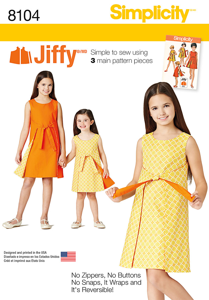 Simplicity 8104 Child\'s and Girls\' Jiffy® Reversible Wrap Dress