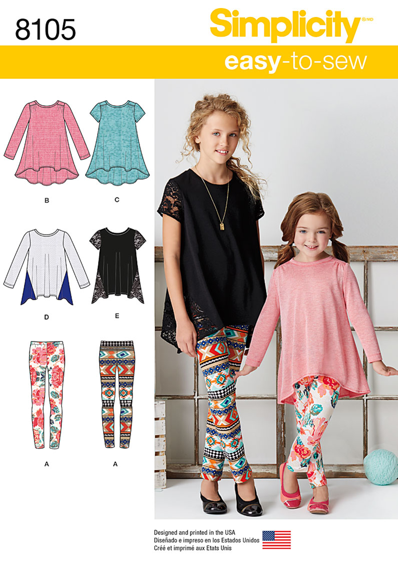 Simplicity 8105 child 39 s and girls 39 knit tunics and leggings for Kid chat rooms 12 14