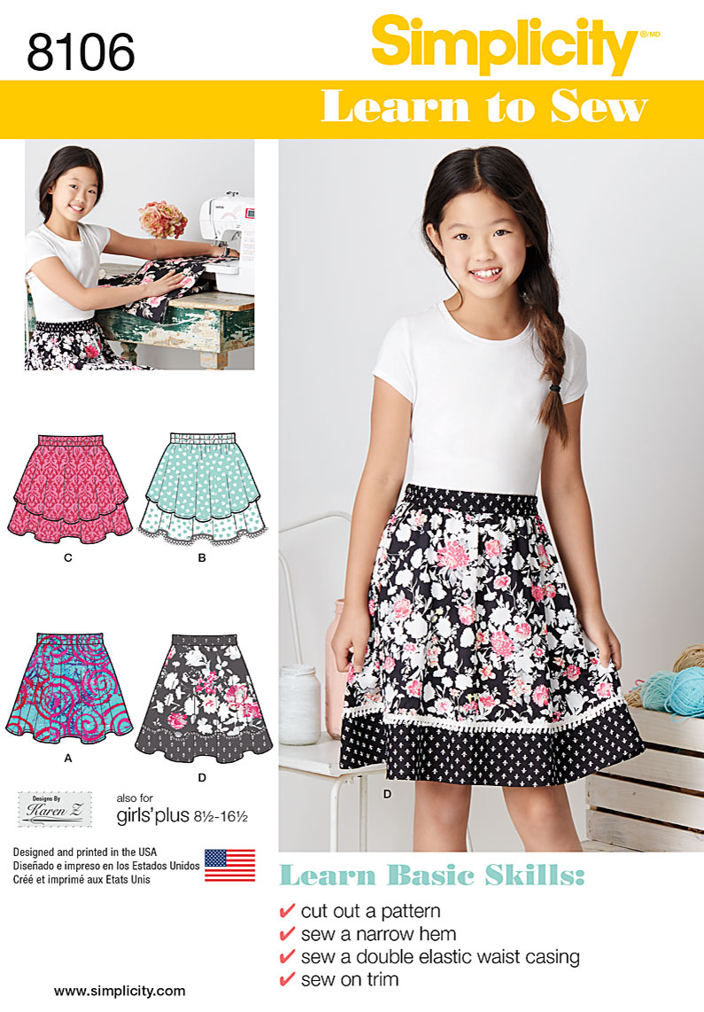Simplicity 8106 Learn To Sew Skirts for Girls and Girls Plus