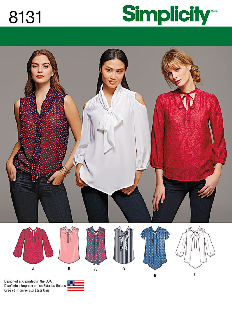04b85f5a67 Simplicity Simplicity Pattern 8131 Misses  Bow Blouses with Sleeve ...