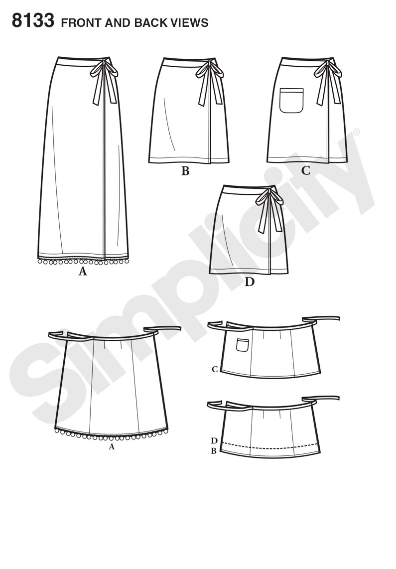 Simplicity Simplicity Pattern 8133 Misses\' Learn to Sew Wrap Skirts