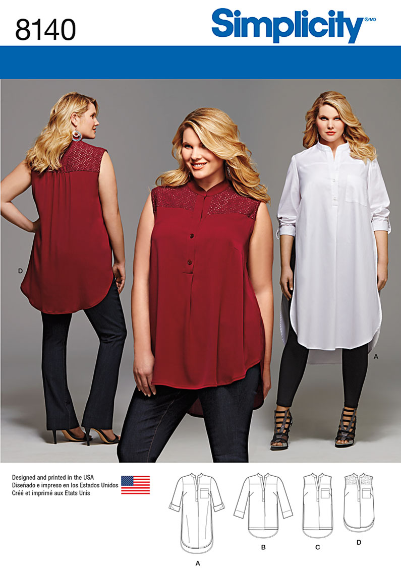Simplicity simplicity pattern 8140 plus size shirt with length and prevnext jeuxipadfo Image collections
