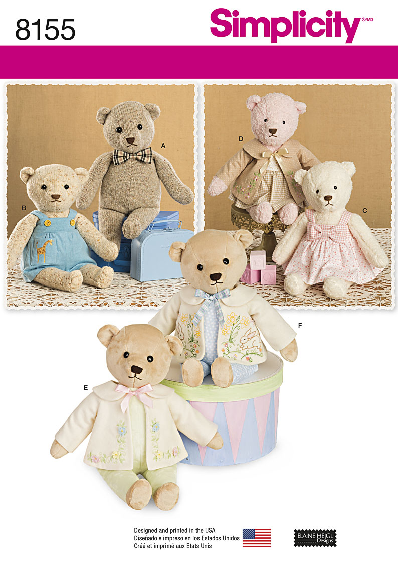 Simplicity simplicity pattern 8155 stuffed bears with clothes prevnext this fun bear pattern jeuxipadfo Images