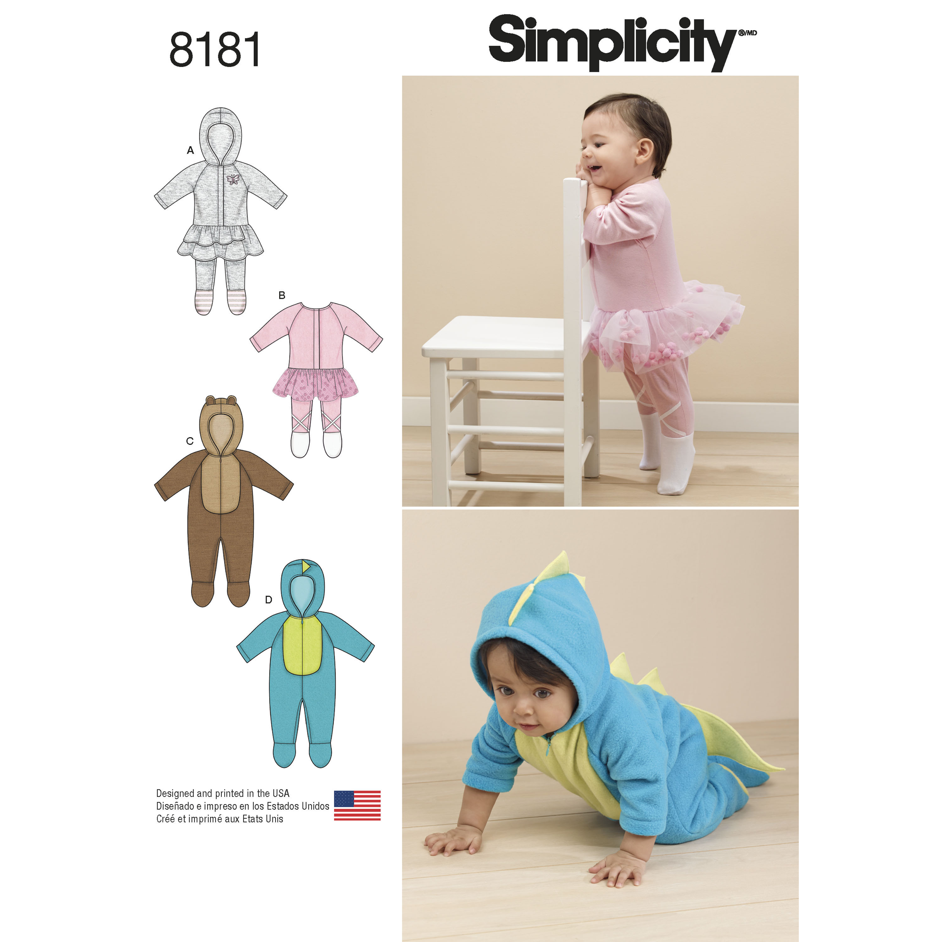 Simplicity 8181 Babies\' Knit and Fleece Rompers