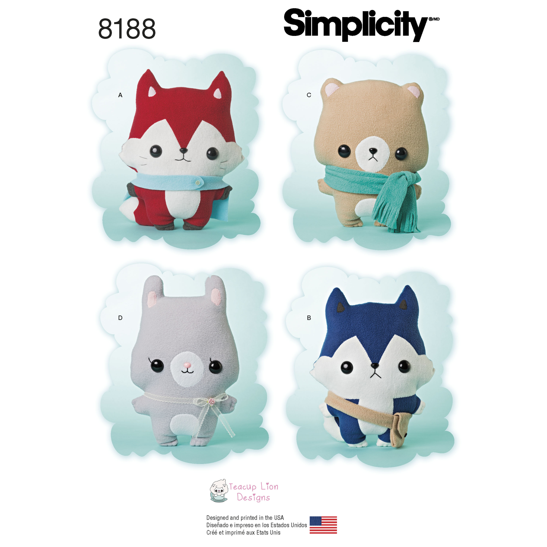 Simplicity 8188 Stuffed Animals