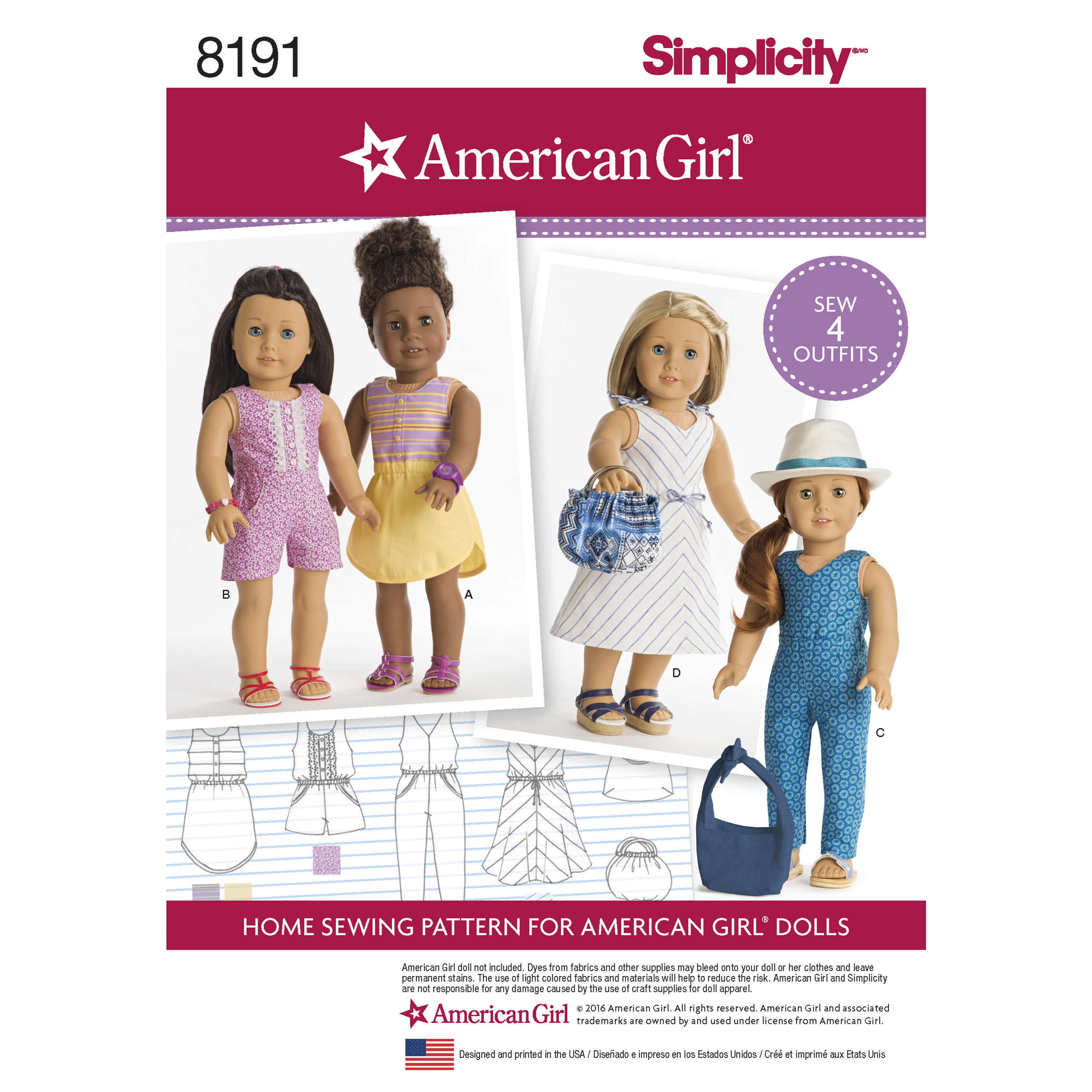 Simplicity 8191 American Girl Doll Clothes For 18 Doll
