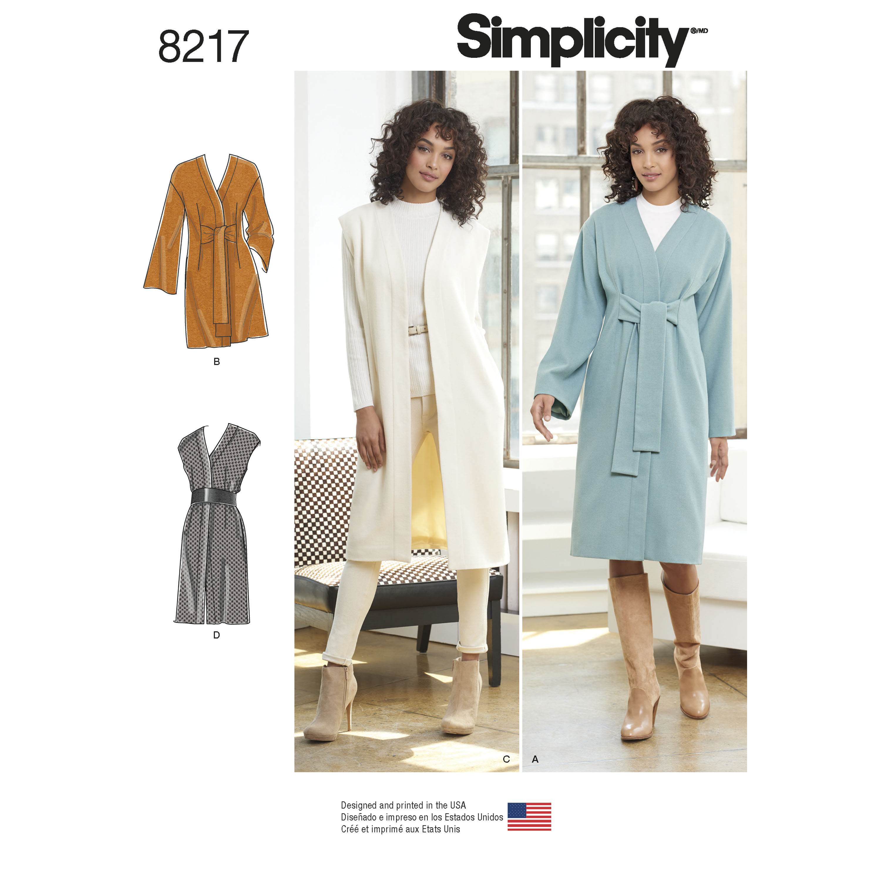 Simplicity 8217 Misses\' and Miss Petite Lined Coat or Vest