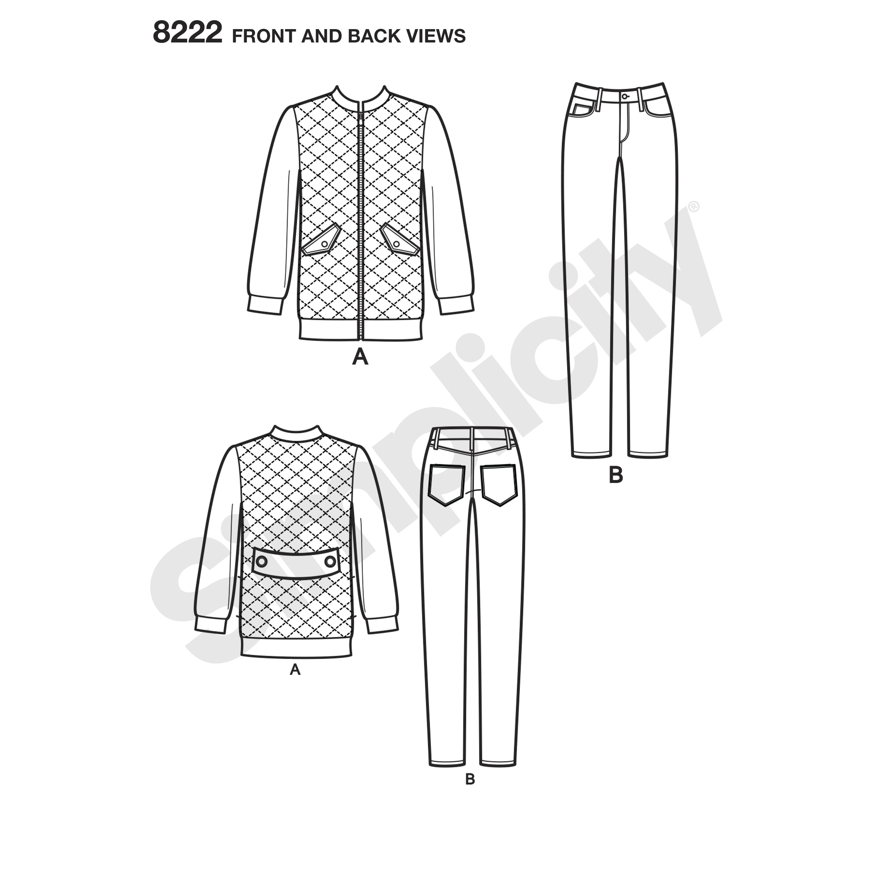 Simplicity 8222 Mimi G Bomber Jacket and Stretch Skinny Jeans