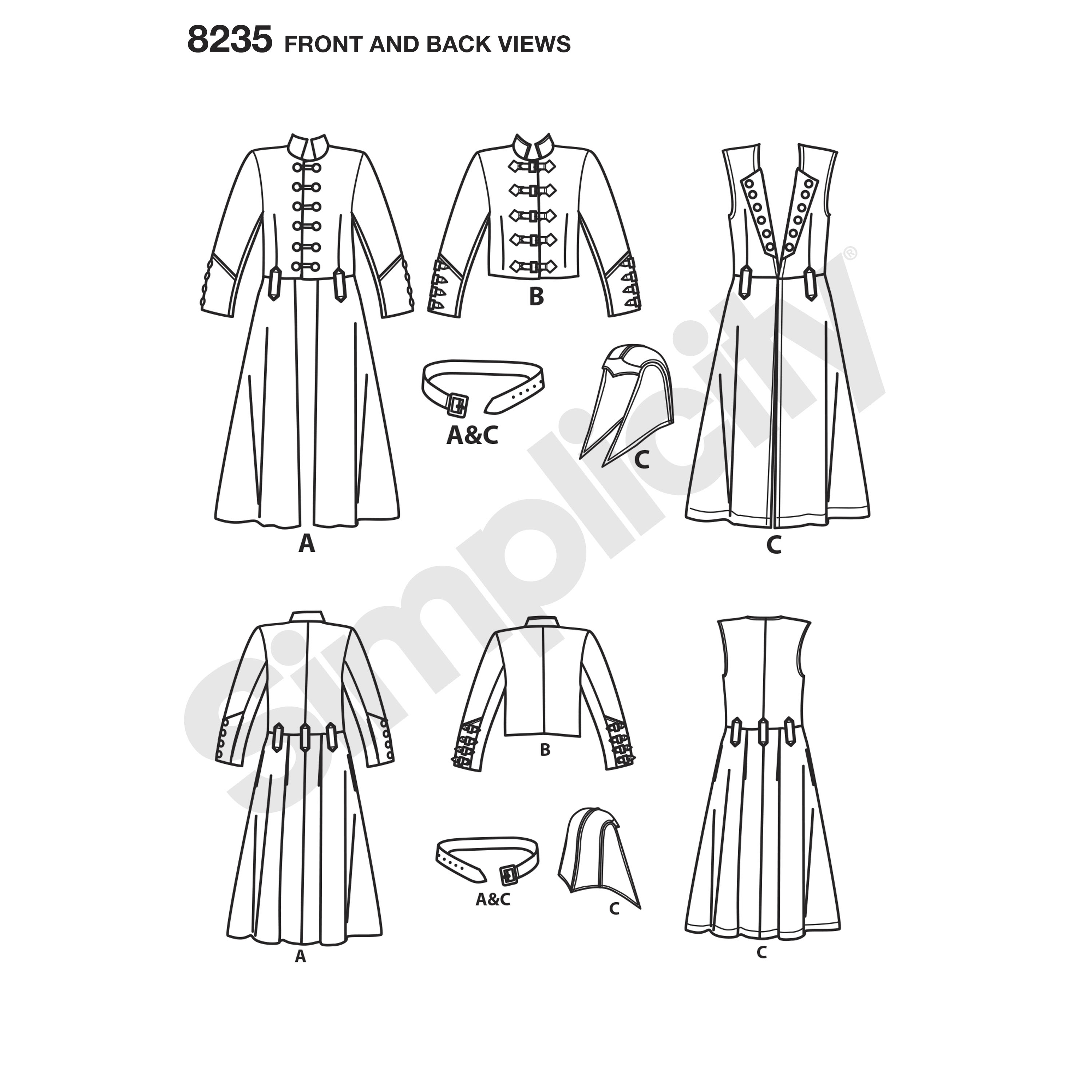 Simplicity 8235 Men\'s Cosplay Costume Pattern