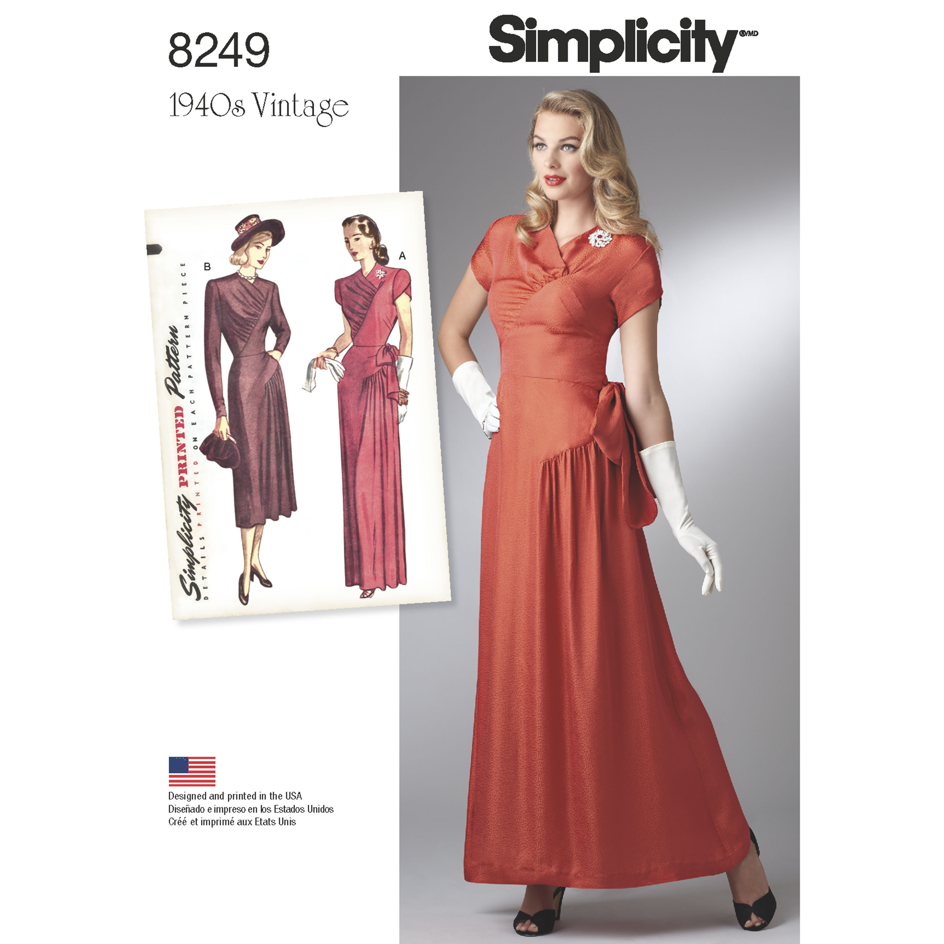 Simplicity Simplicity Pattern 8249 Misses\' Vintage 1940\'s Gown and Dress