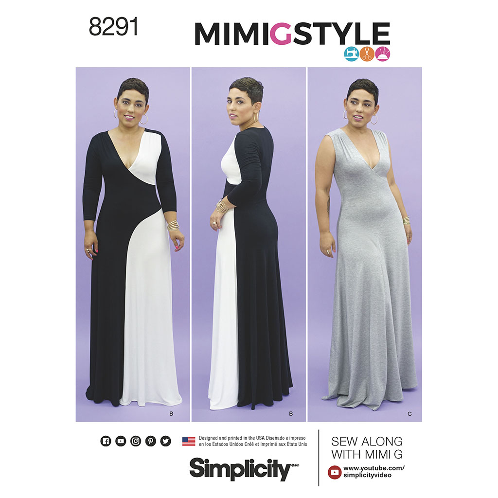 Free wedding dress sewing patterns - Mimi g style color block knit maxi dress with long sleeves or