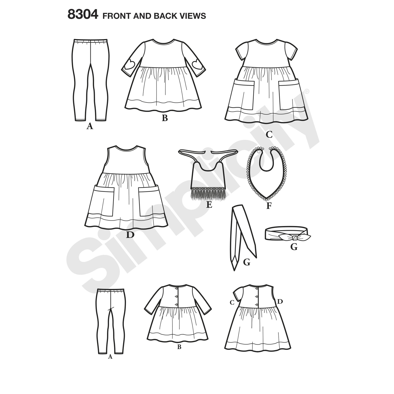 Simplicity 8304 Babies\' Leggings, Top, Dress, Bibs and Headband