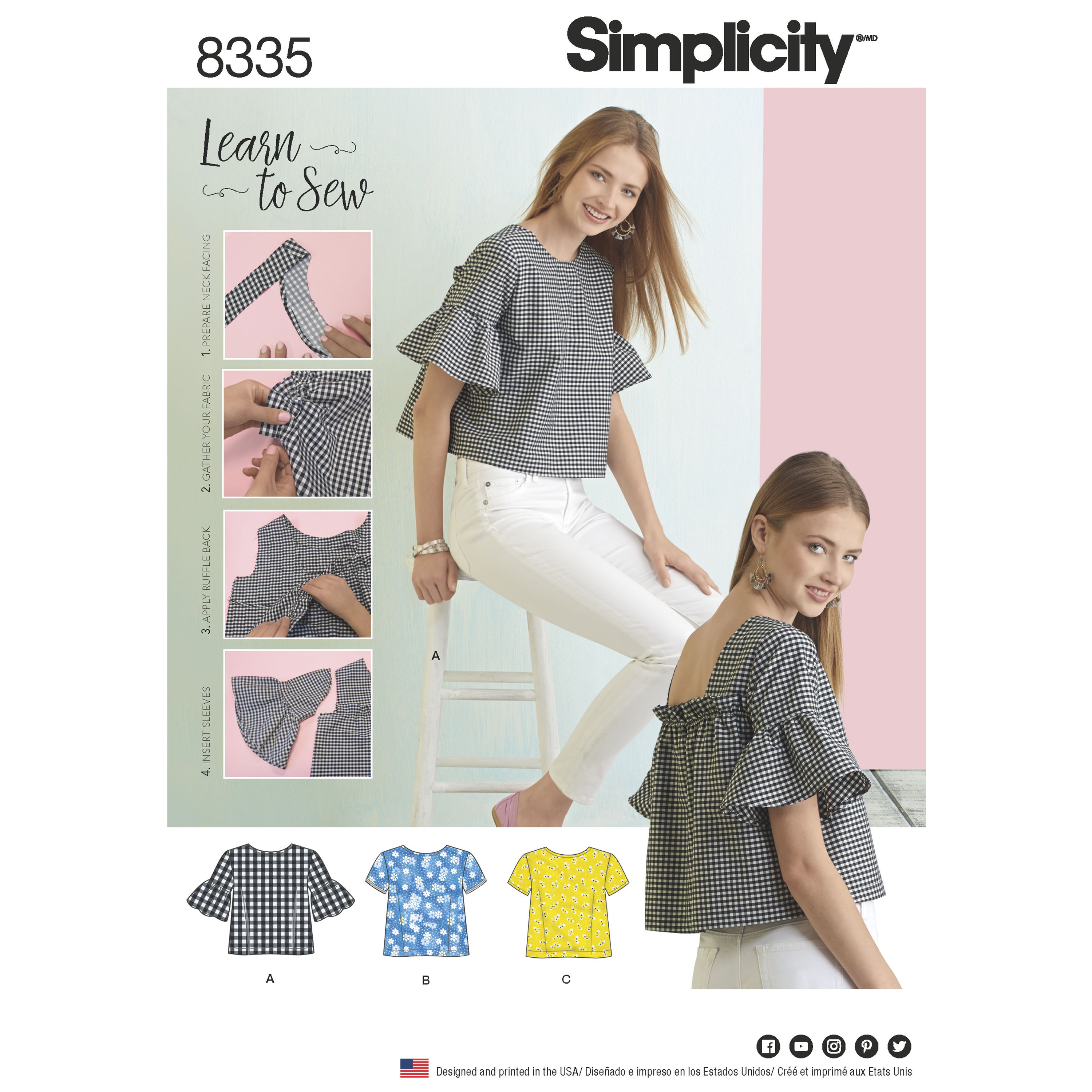 Simplicity 8335 Misses' Top with Back Interest