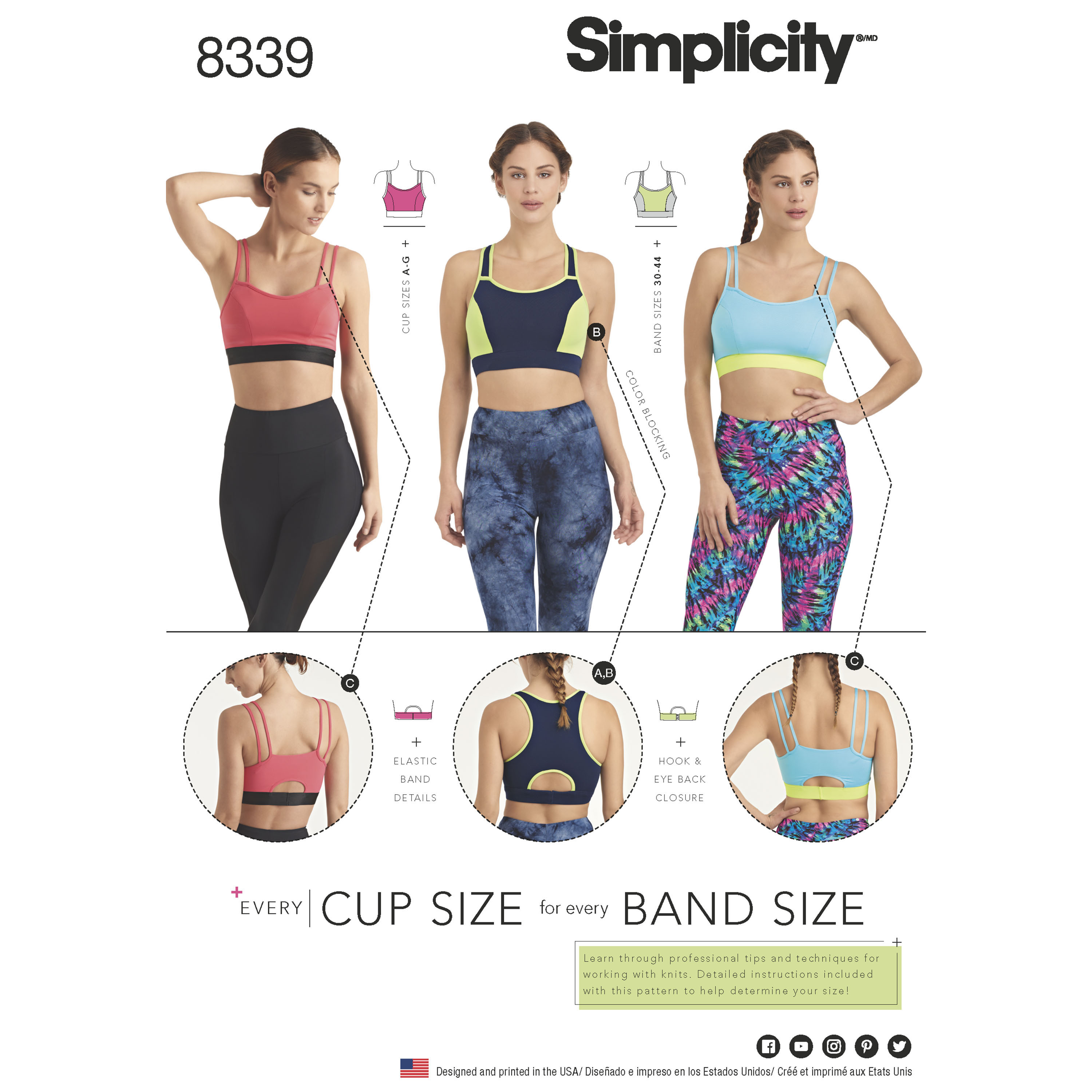 35e75e7f3 Simplicity 8339 Misses  Knit Sports Bras