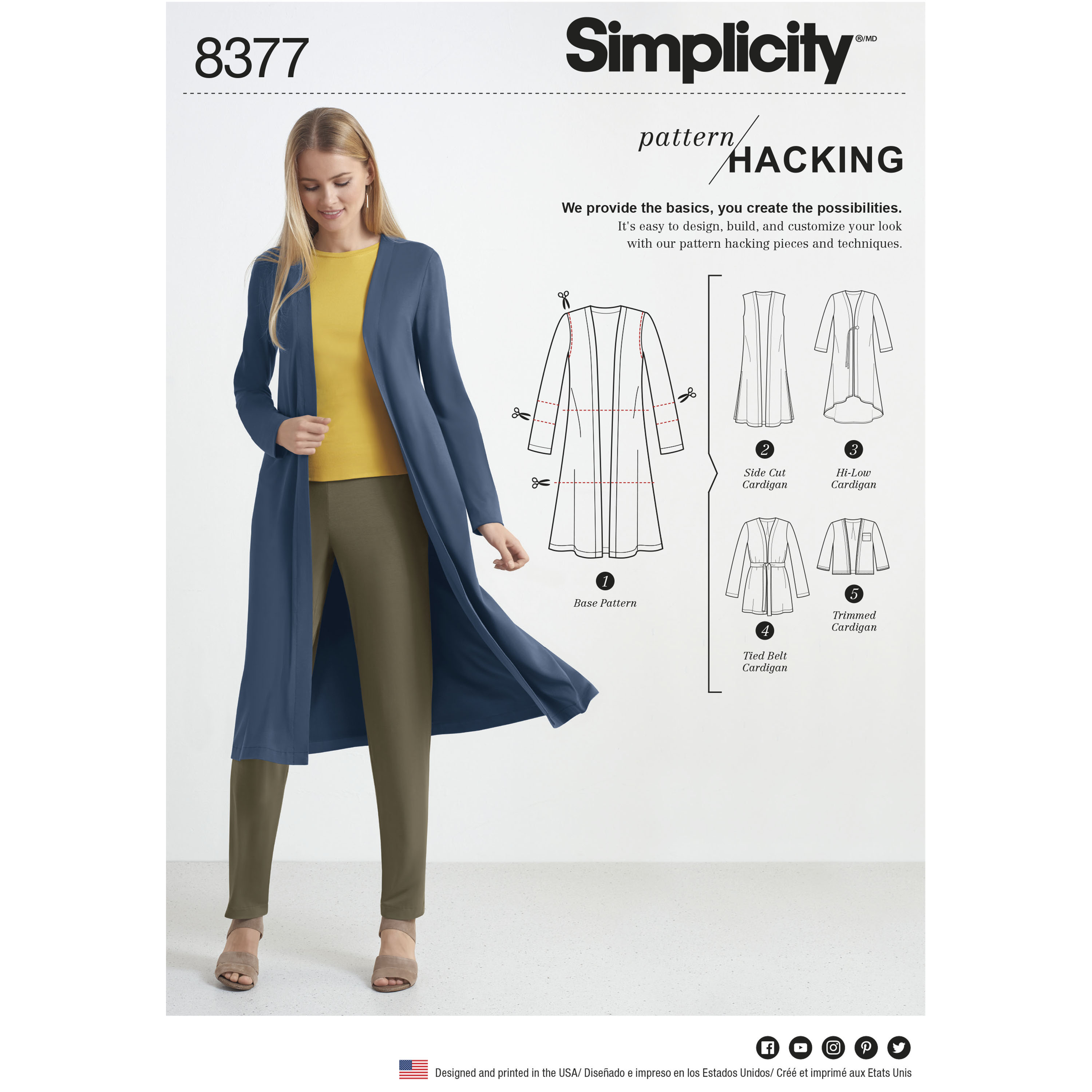 Simplicity 8377 Misses\' Knit Cardigan with Variations and Multiple ...