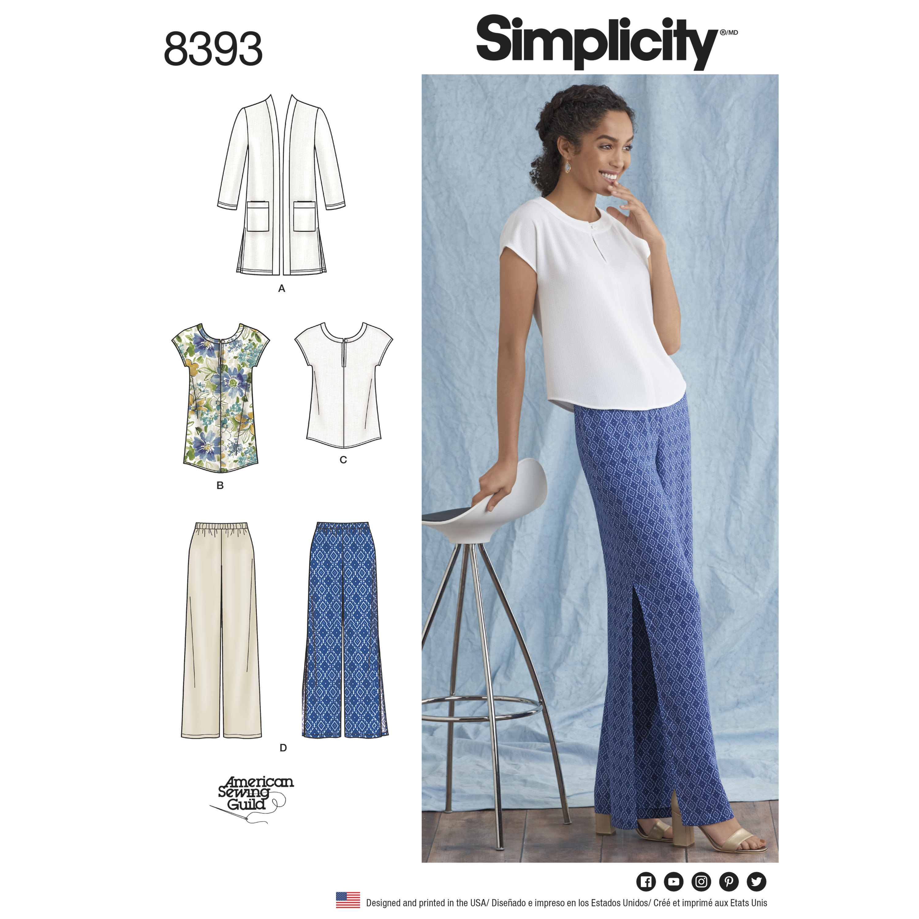Simplicity 8393 misses and plus size pants tunic or top and prevnext jeuxipadfo Images