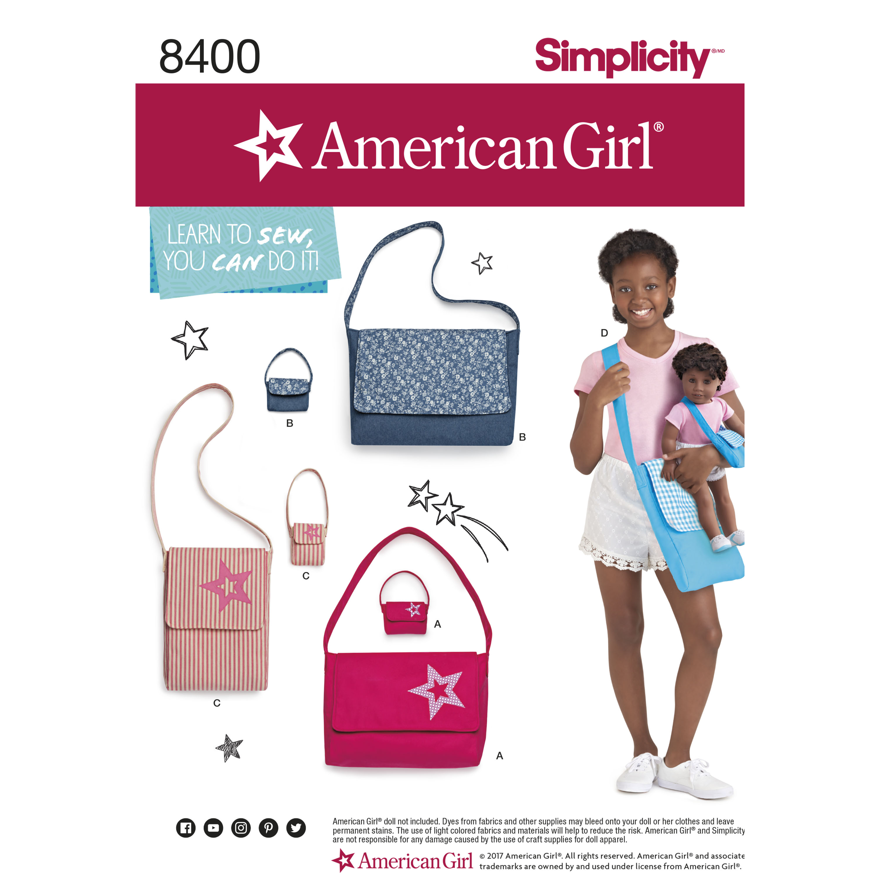Simplicity 8400 American Girl Learn-To-Sew Bags