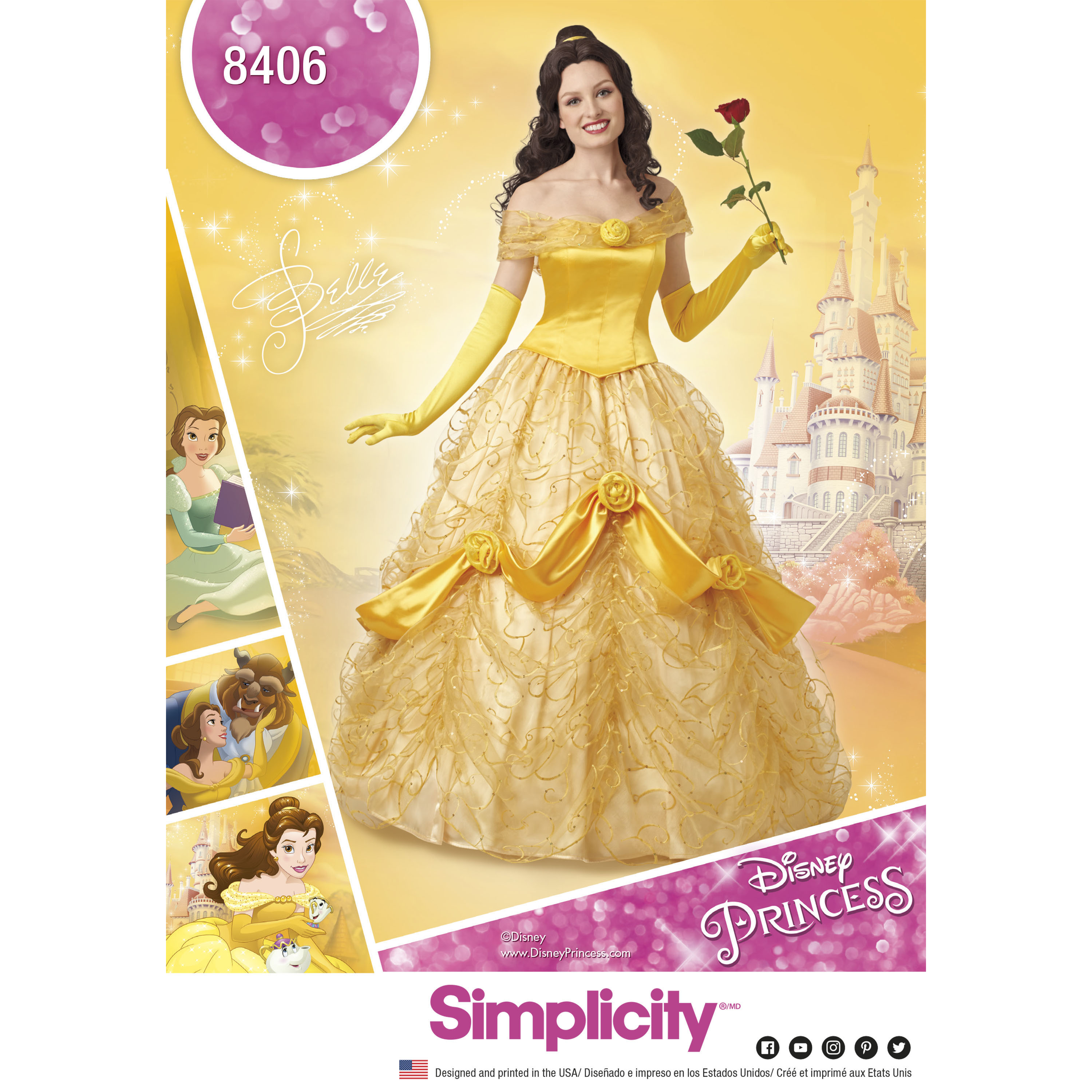 Simplicity 8406 Disney Beauty and the Beast Costume for Misses