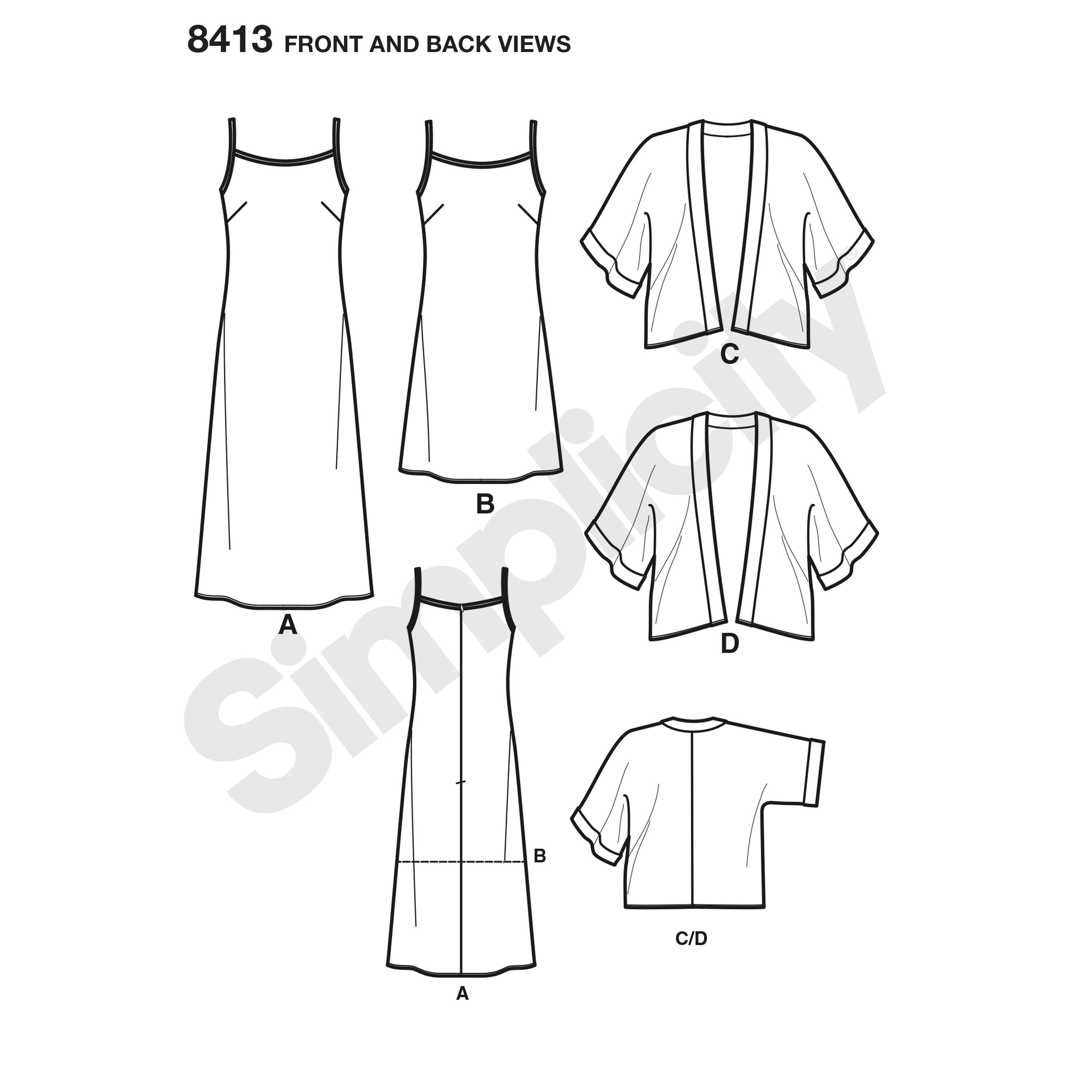Simplicity 8413 misses slip dress in two lengths and kimono prevnext jeuxipadfo Gallery