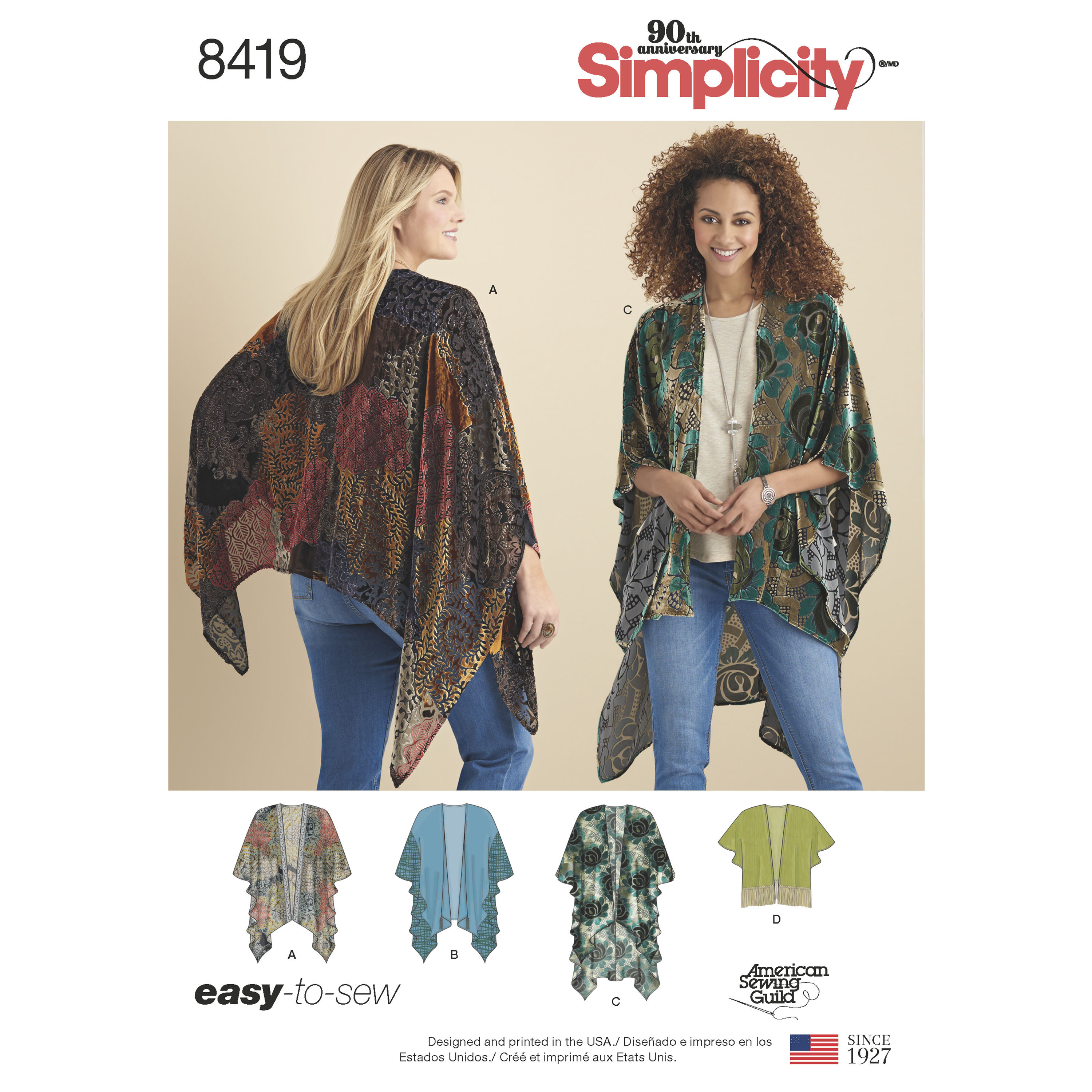 Simplicity 8419 Misses' Kimono Style Wrap with Variations