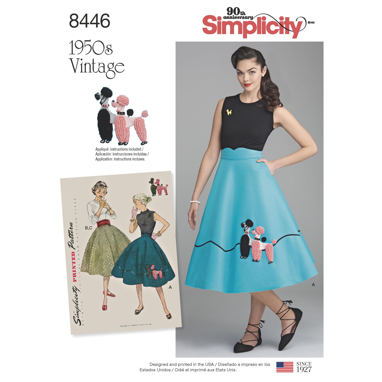 Simplicity 8446 Misses' Vintage Skirt and Cummerbund