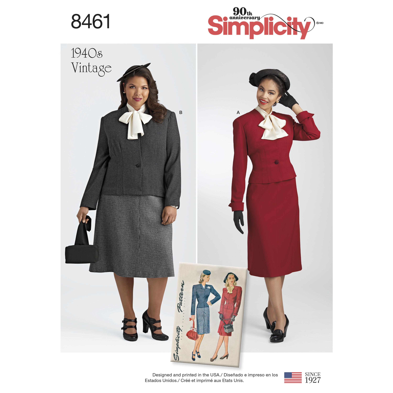 Simplicity Pattern 8461 Misses Women S Vintage Two Piece Suit And