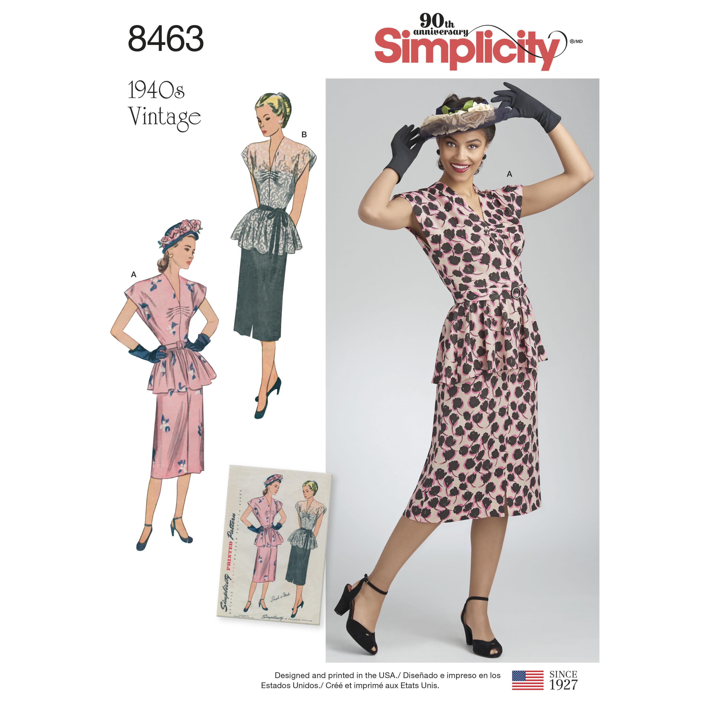 Simplicity Pattern 8463 Misses' Vintage Two Piece Dress
