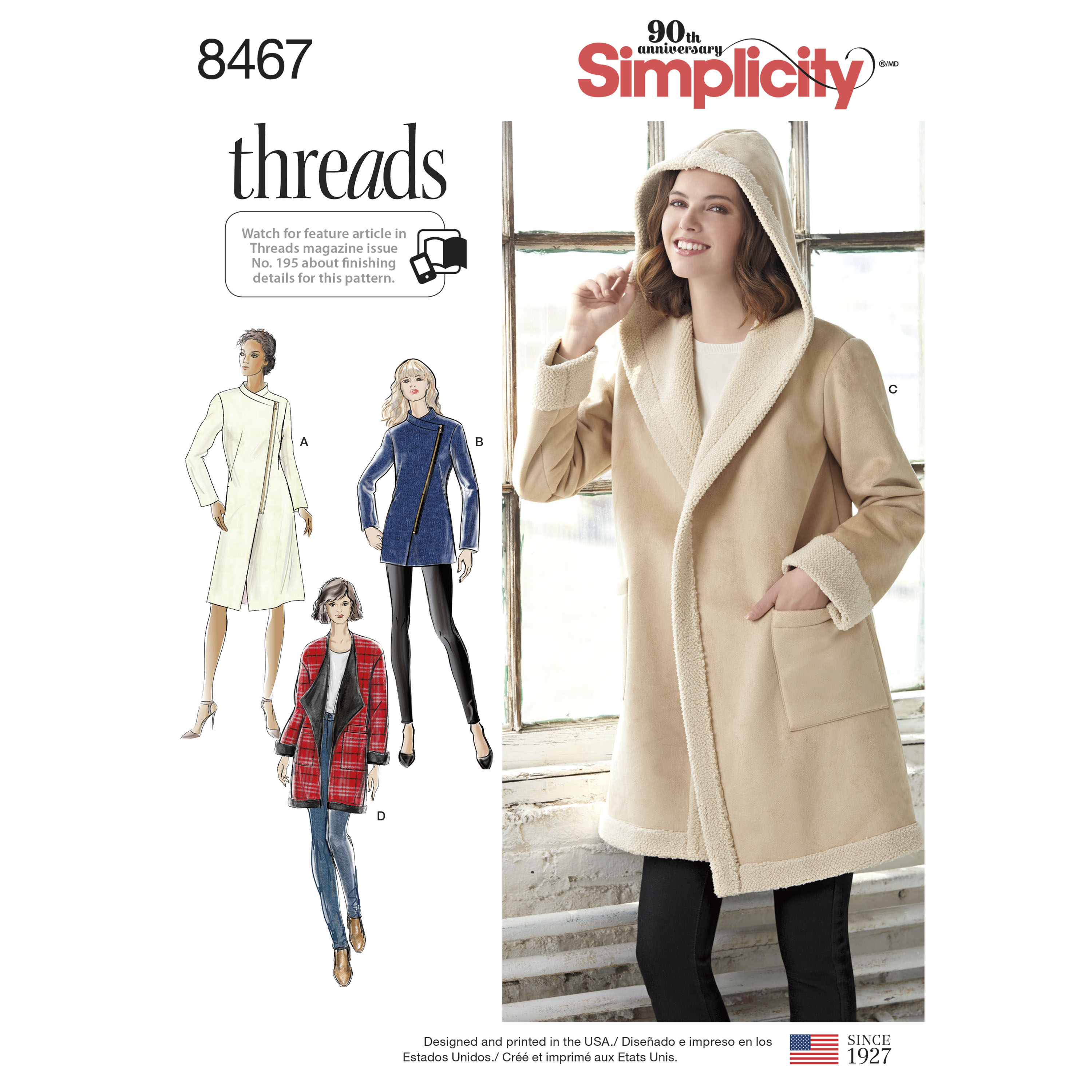 cd6845789 Simplicity Pattern 8467 Misses' Coat or Jacket with Neckline Variations
