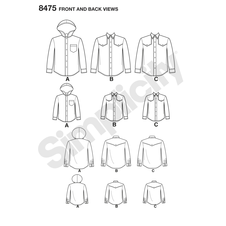 Simplicity Pattern 8475 Men\'s and Boy\'s Shirt Jacket