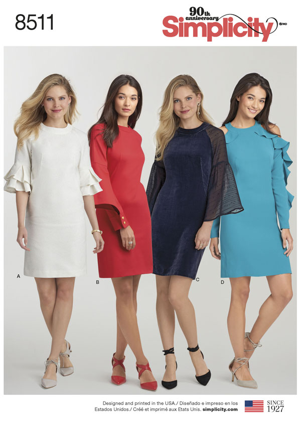 Simplicity Simplicity Pattern 40 Misses' Dress with Sleeve Variations Stunning Simplicity Pattern