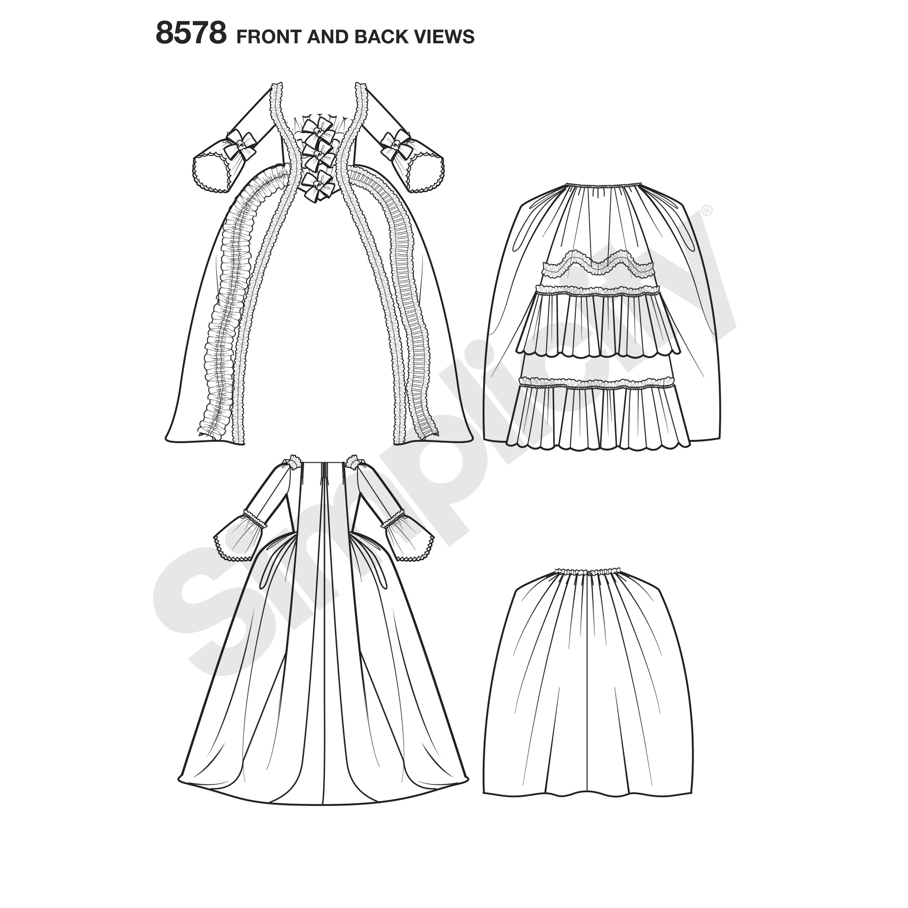 Simplicity Simplicity Pattern 8578 Misses\' 18th Century Gown