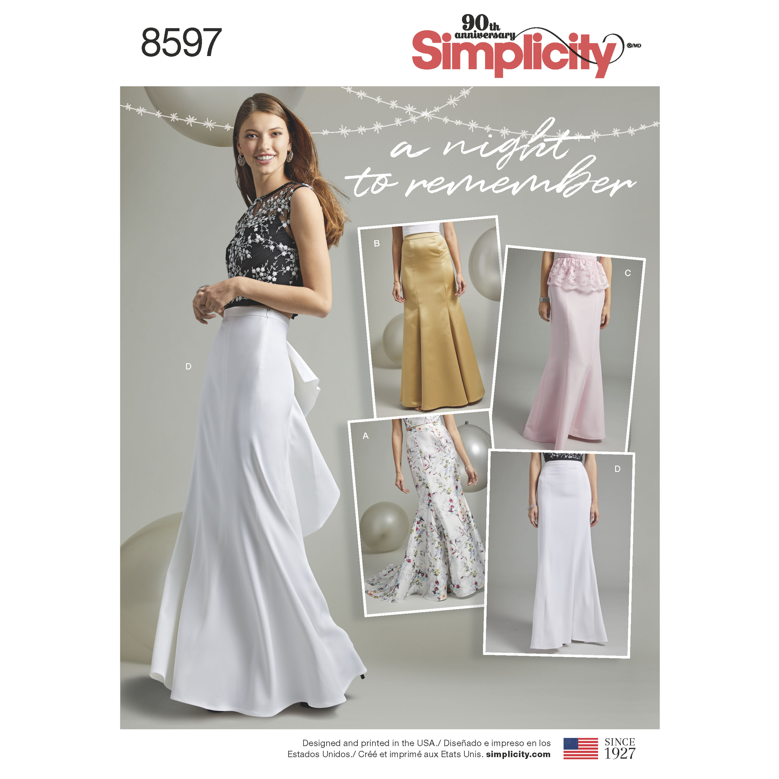 Simplicity 8597 Misses' and Women's Special Occasion Skirts