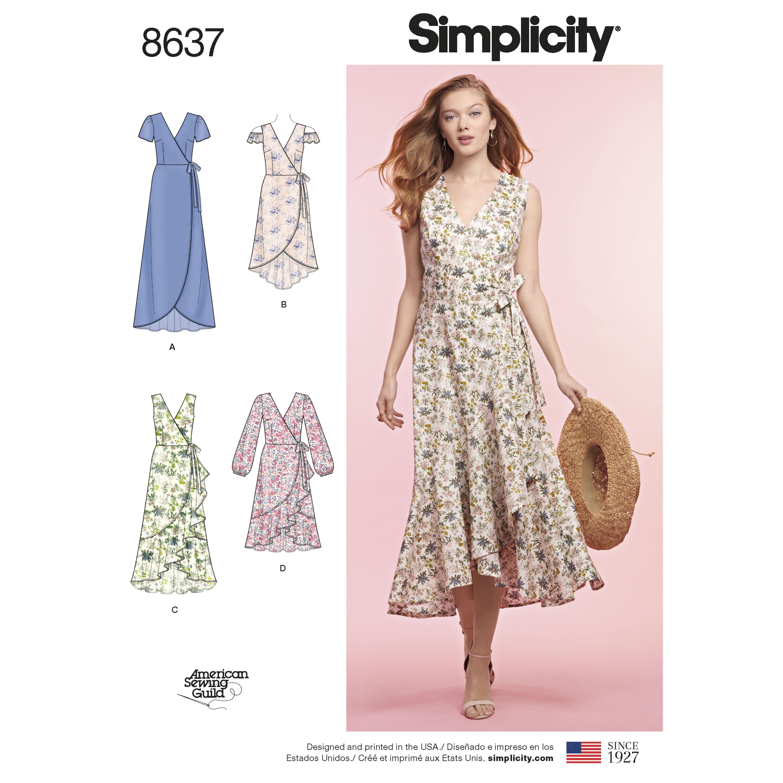 Simplicity 8637 Misses' Wrap Dress