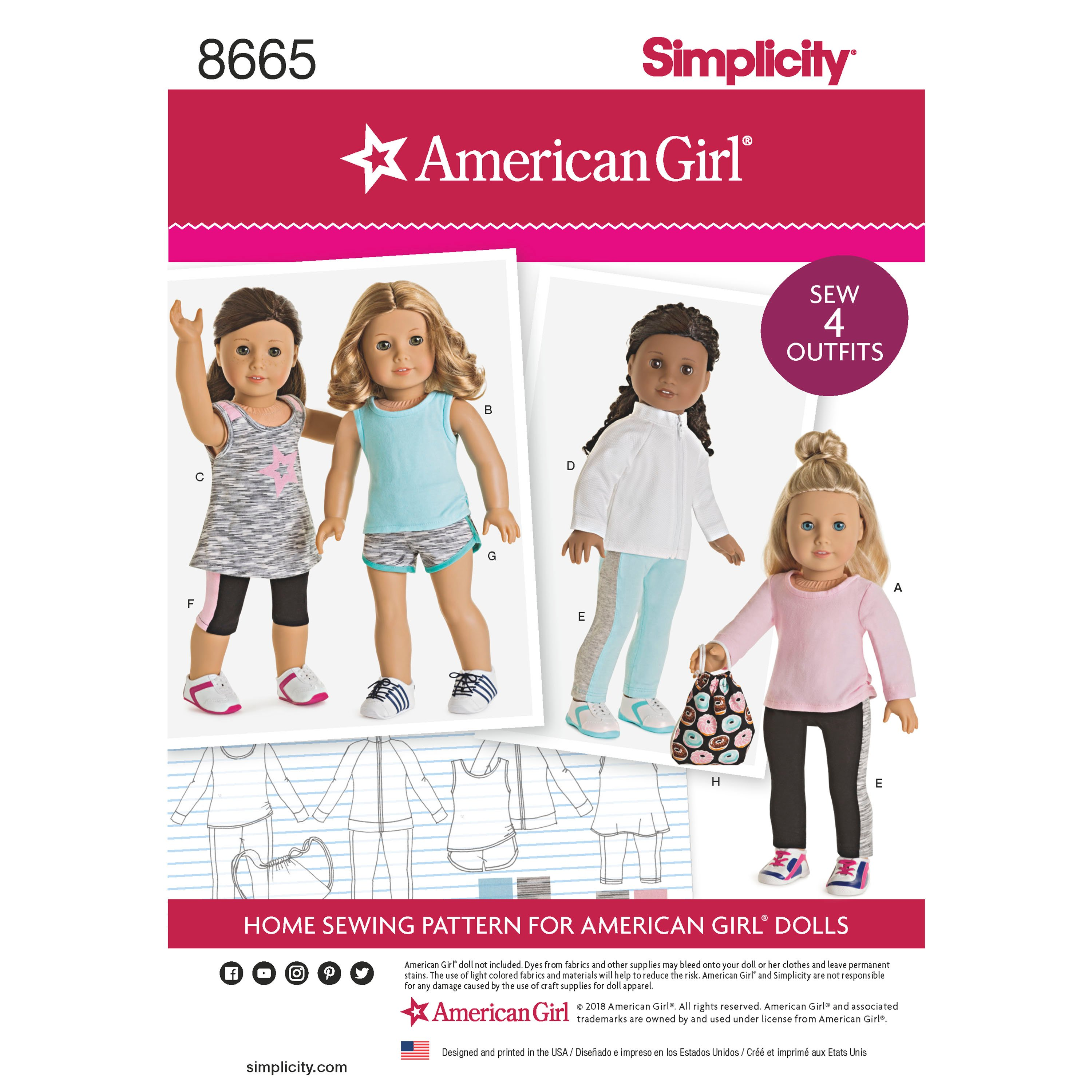 Simplicity 8665 American Girl 18 Doll Clothes