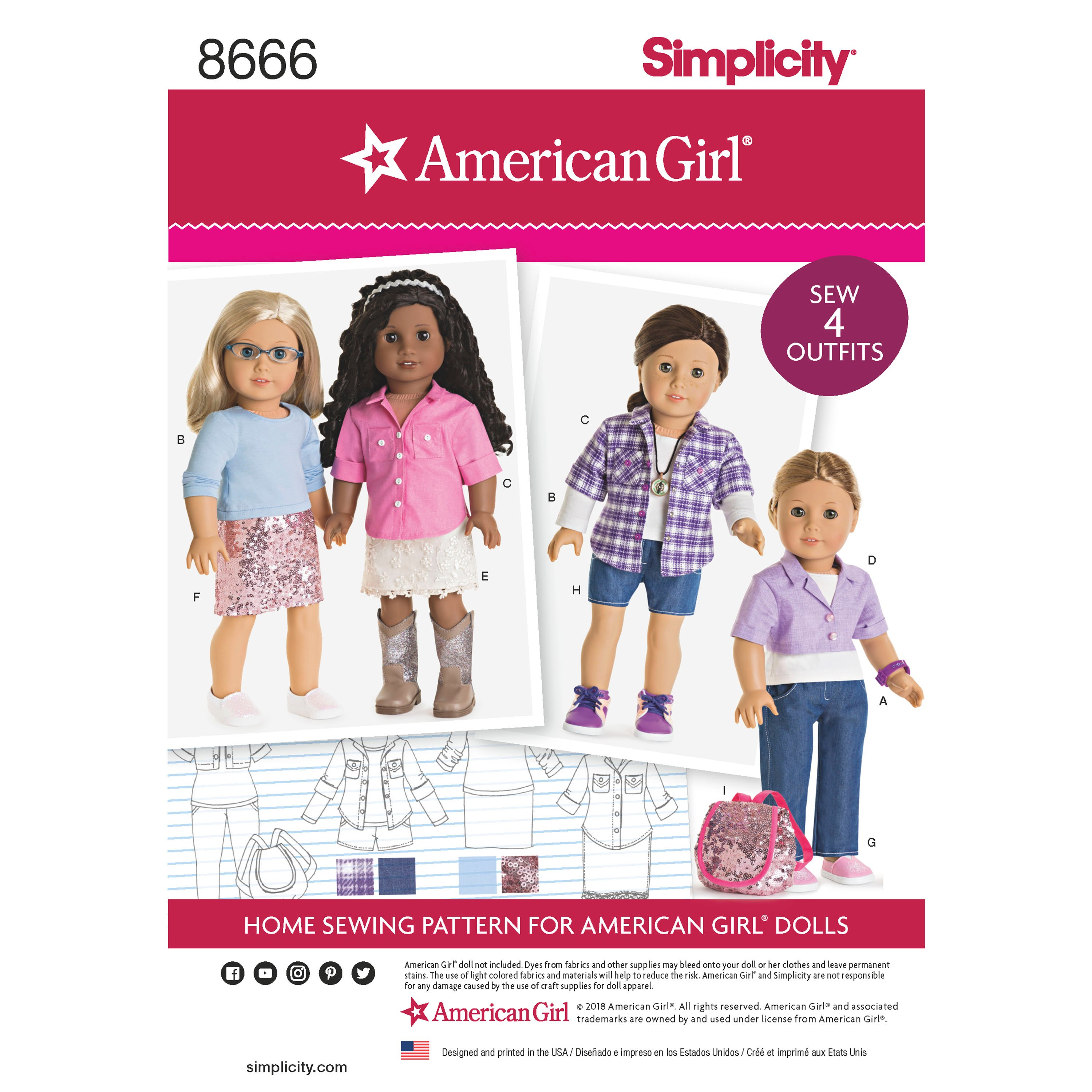 Simplicity 8666 American Girl 18 Doll Clothes