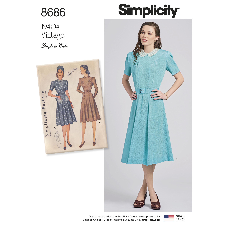 Simplicity 8686 Misses' Vintage Dresses