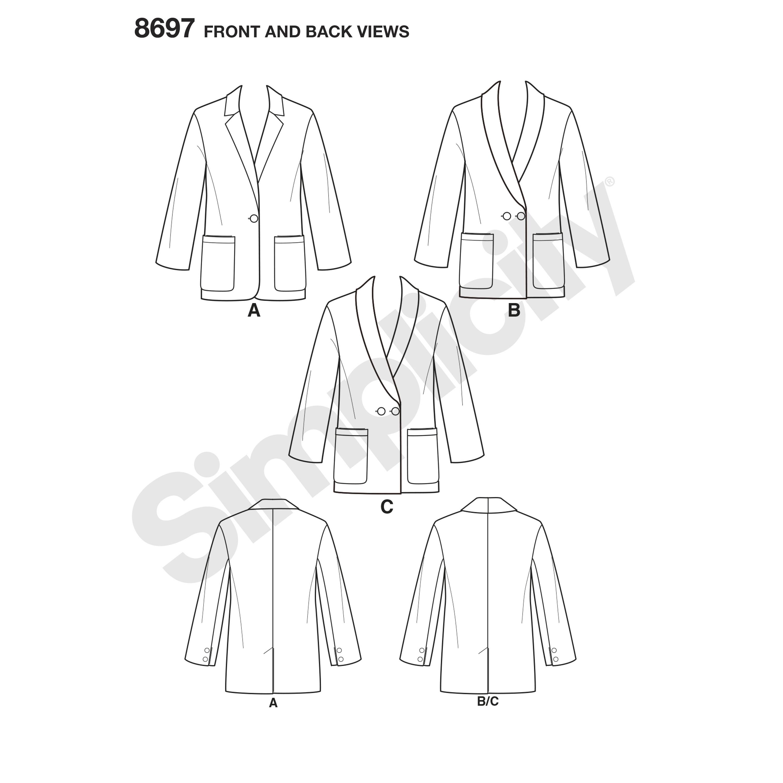 Simplicity 8697 Misses\'/Women\'s Oversized Blazers