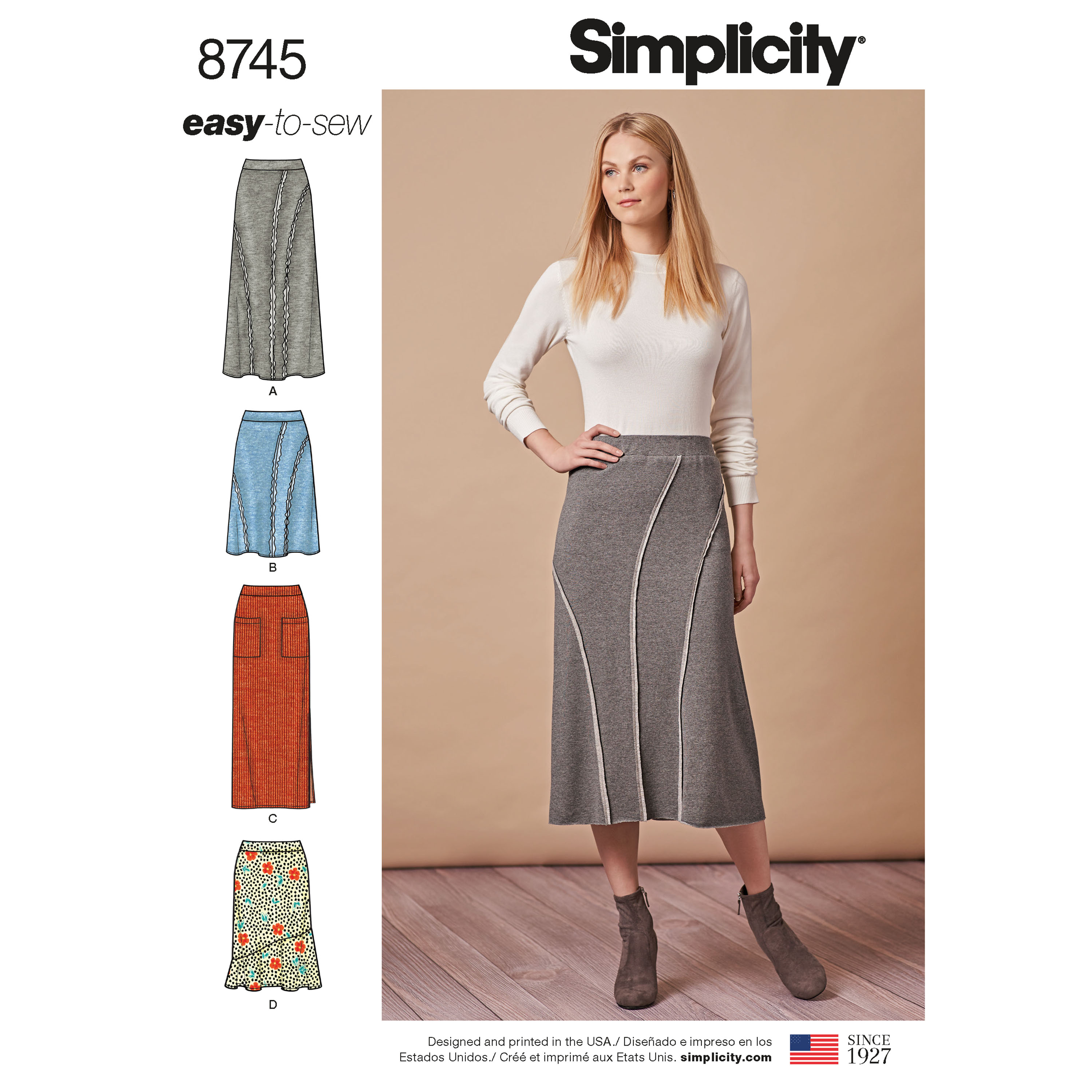 Simplicity 8745 Misses\' Easy-to-Sew Knit Skirts
