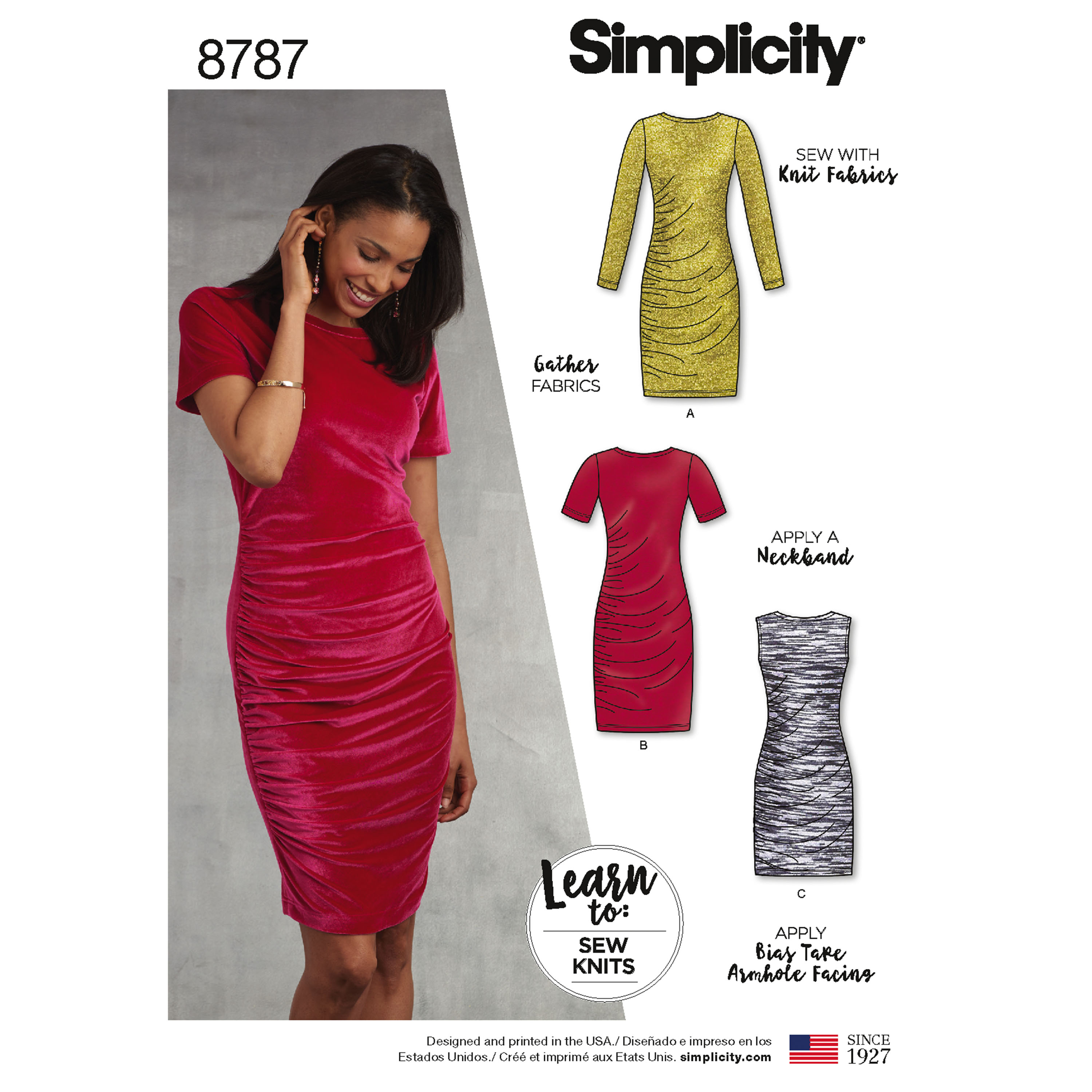 Simplicity 8787 Misses\' Learn-to-Sew Knit Dress