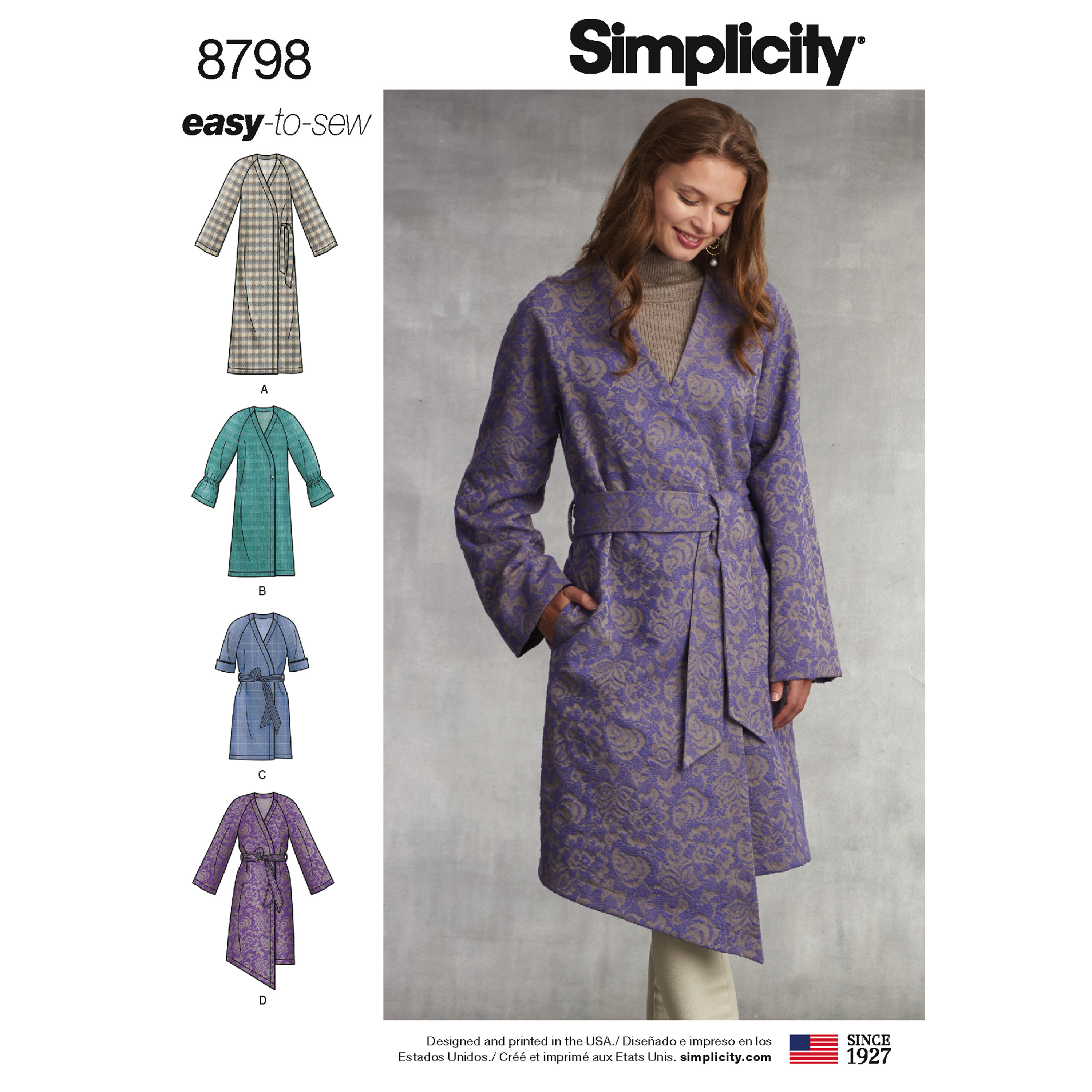 631f16bc0 Simplicity 8798 Misses' Unlined Coat with Tie Belt