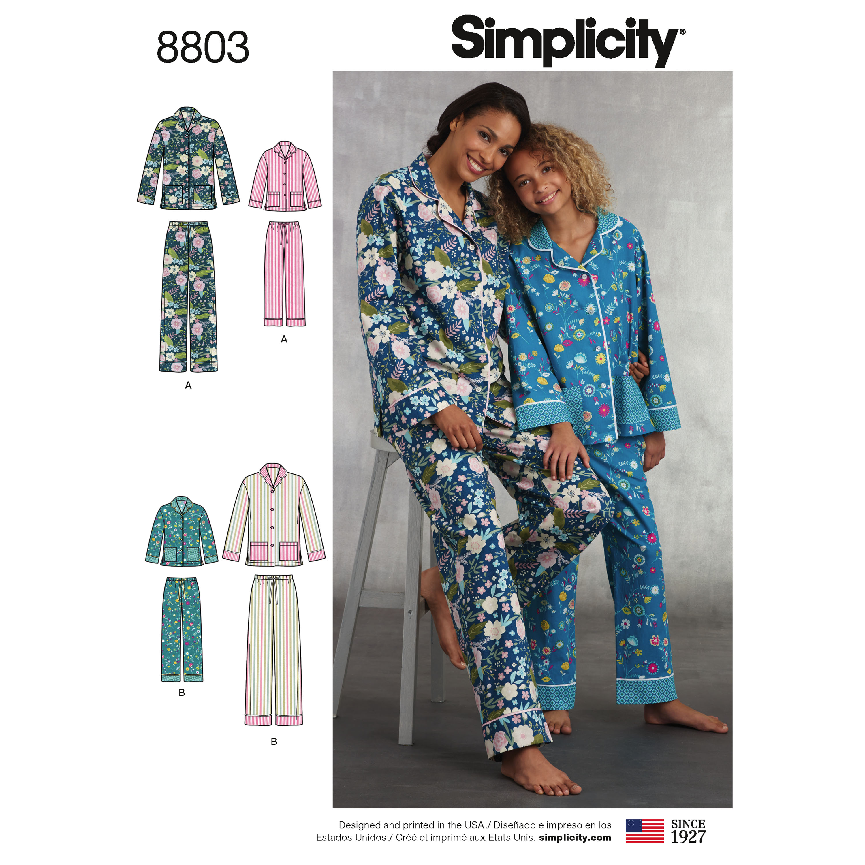 Simplicity 8803 Girls  and Misses  Lounge Pants and Shirt 65281d657