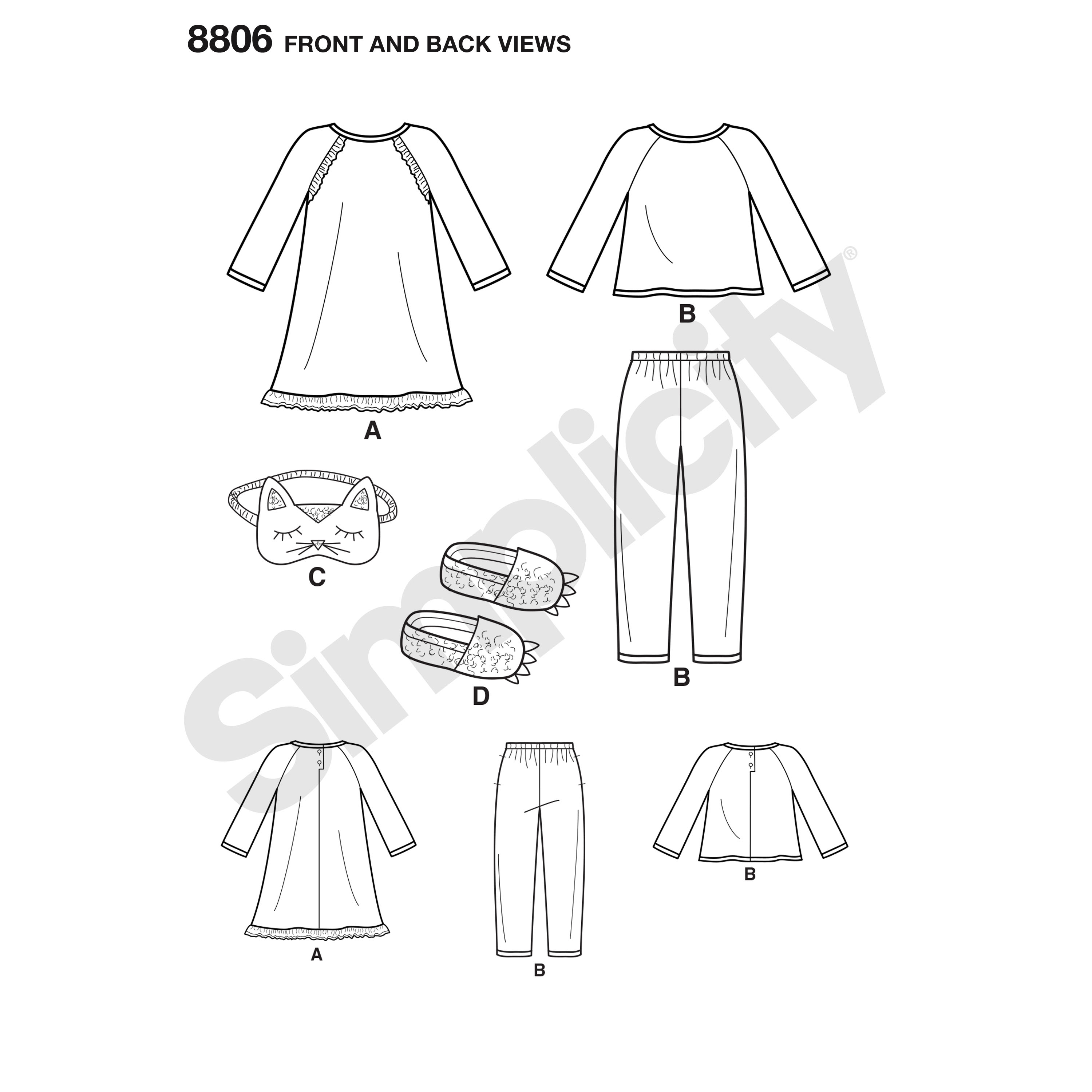 Simplicity 8806 Children\'s Dress, Top, Pants, Eye Mask, and Slippers
