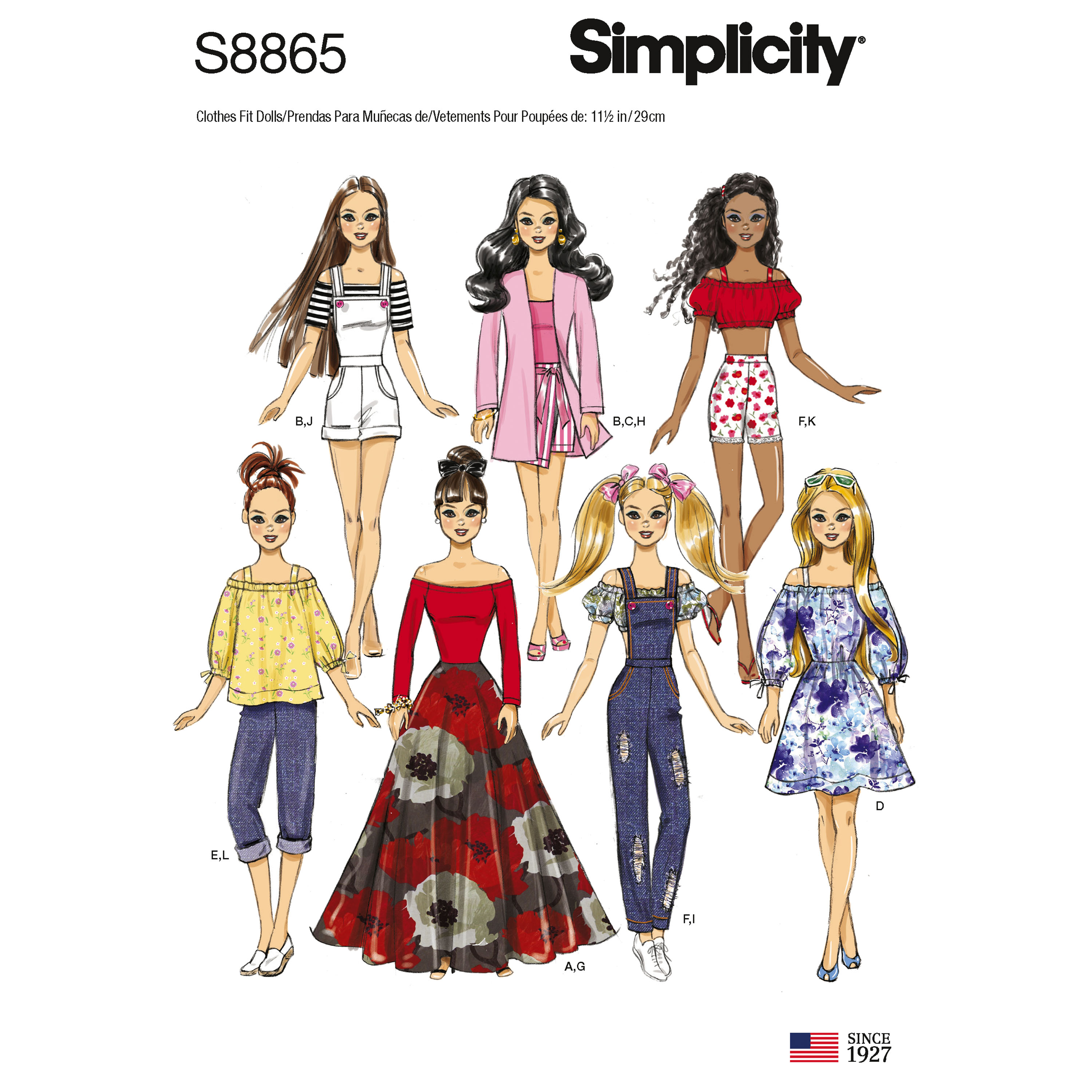 Simplicity 8865 11 1 2 Fashion Doll Clothes