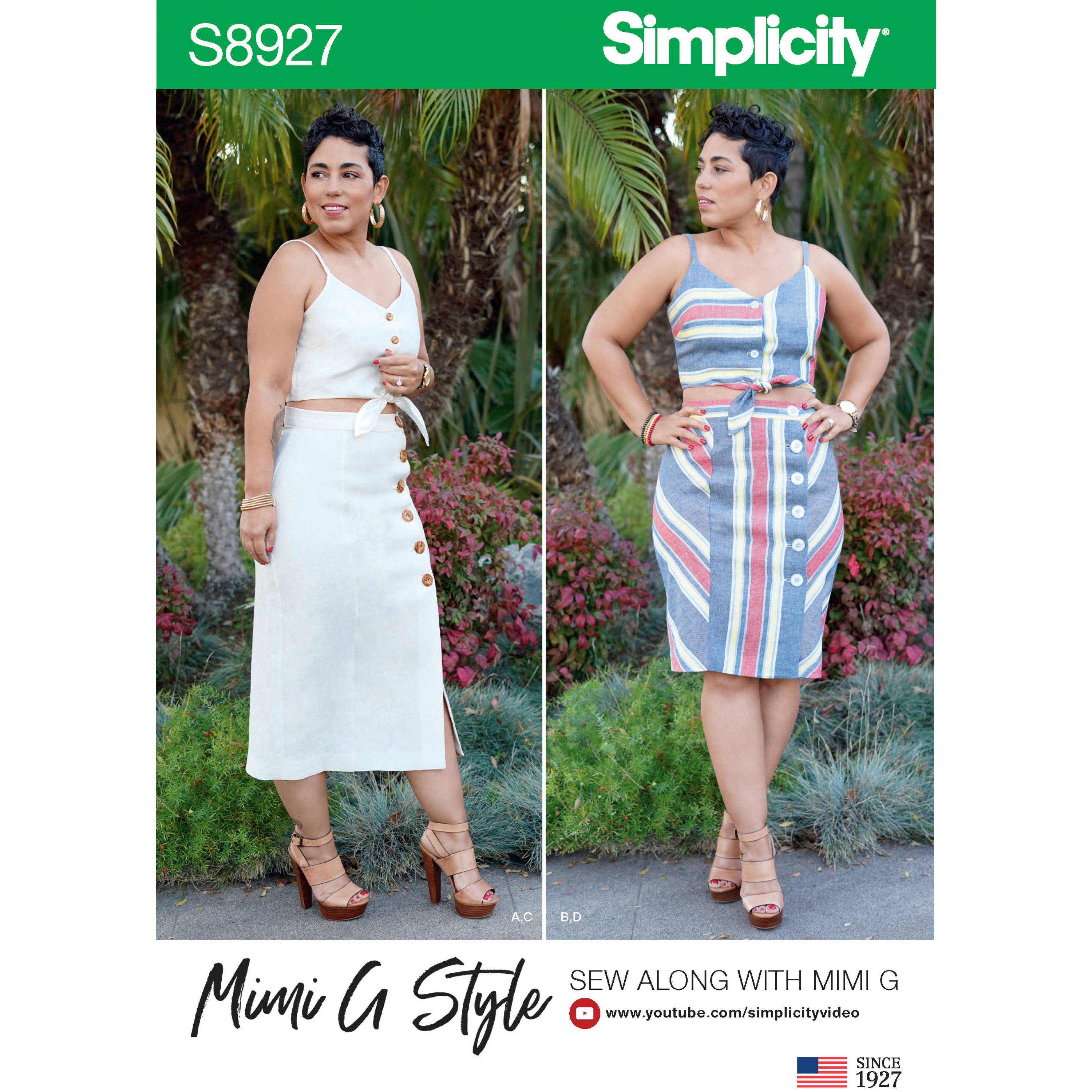 90f4794c8f Simplicity 8927 Misses Tie Front Tops And Skirts By Mimi G Style