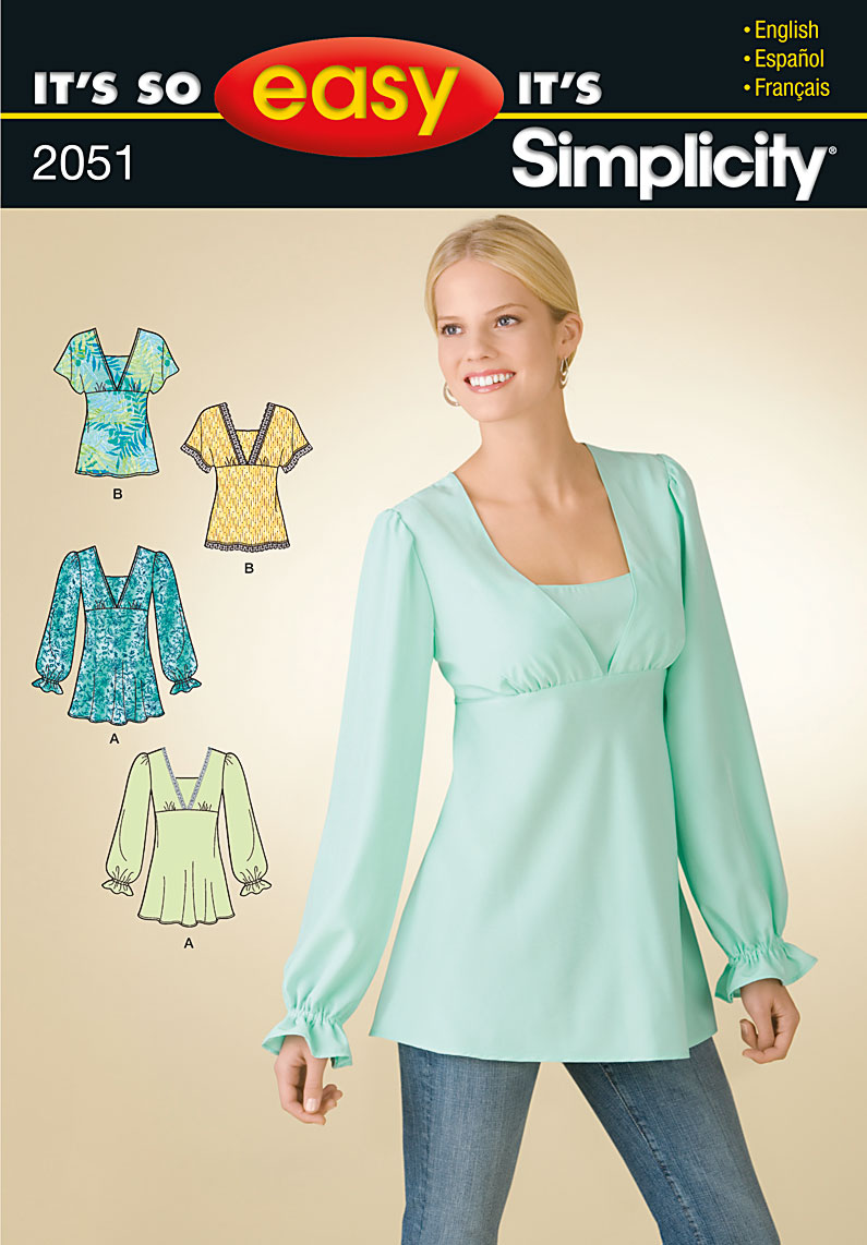 Simplicity 2051 MIsses Pullover Bias Tunic Or Top